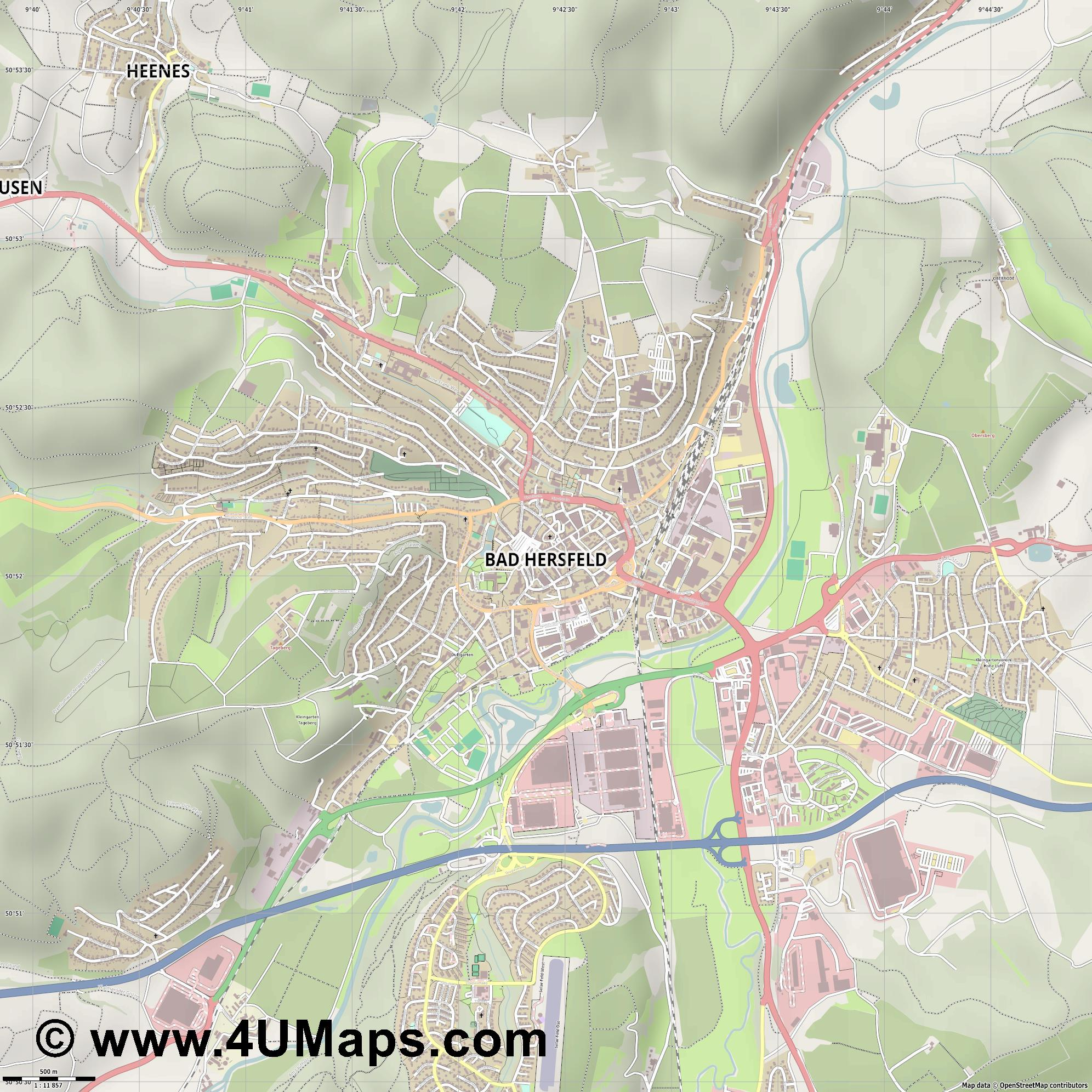 Bad Hersfeld  jpg ultra high detail preview vector city map