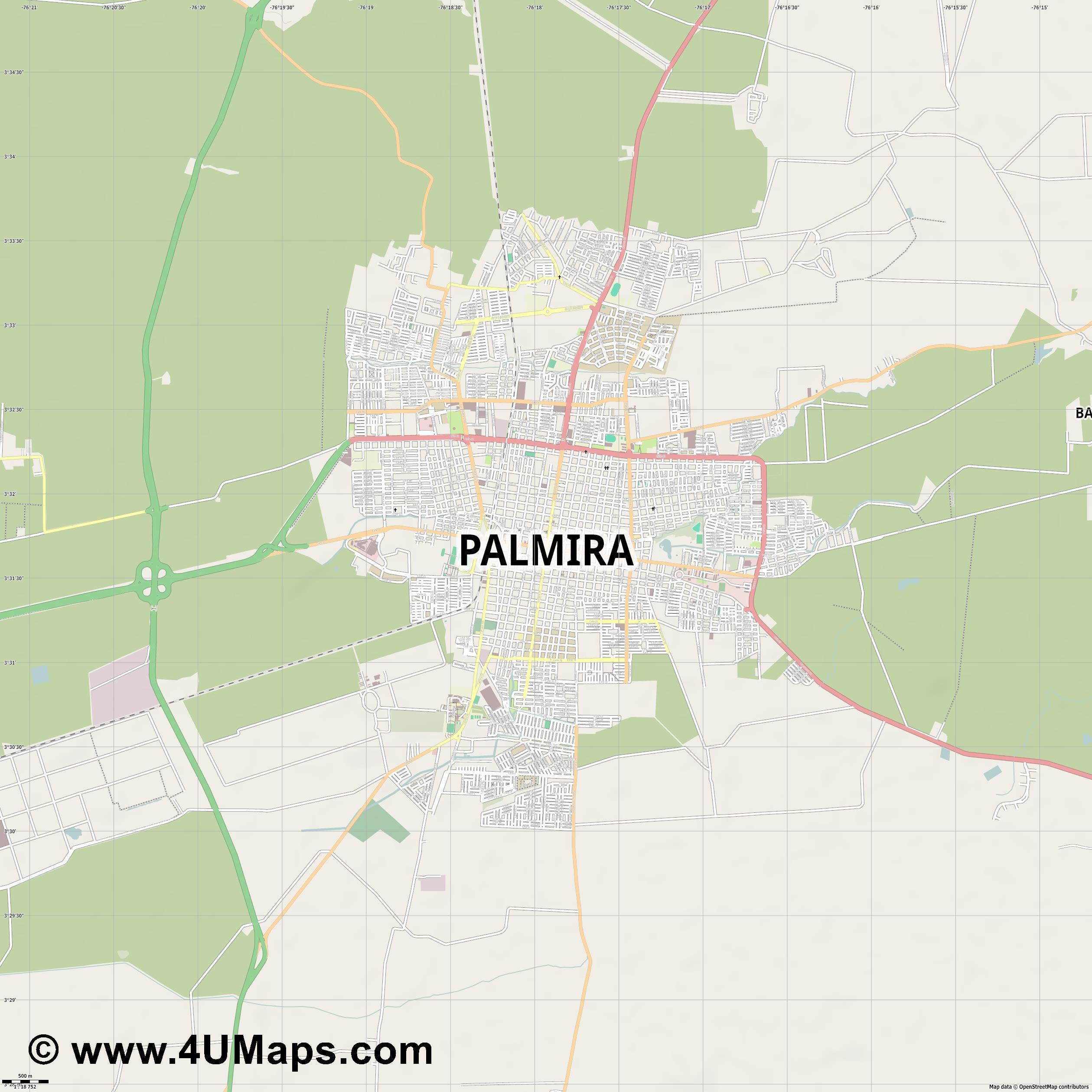 Palmira  jpg ultra high detail preview vector city map