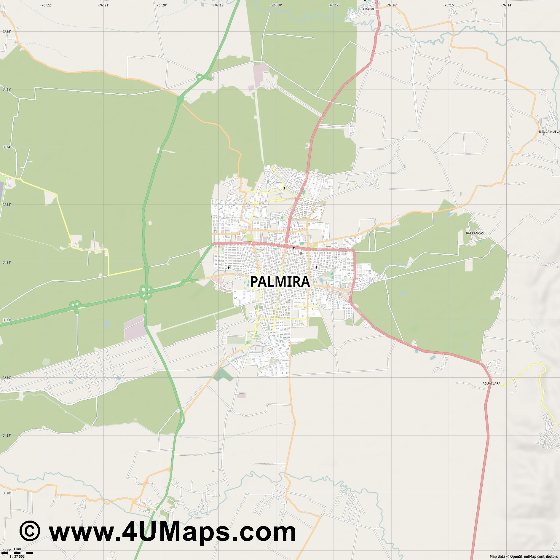 Palmira  jpg high detail, large area preview vector city map