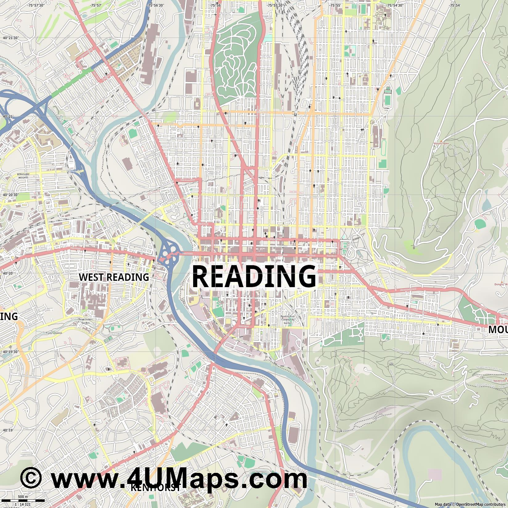 Reading  jpg ultra high detail preview vector city map