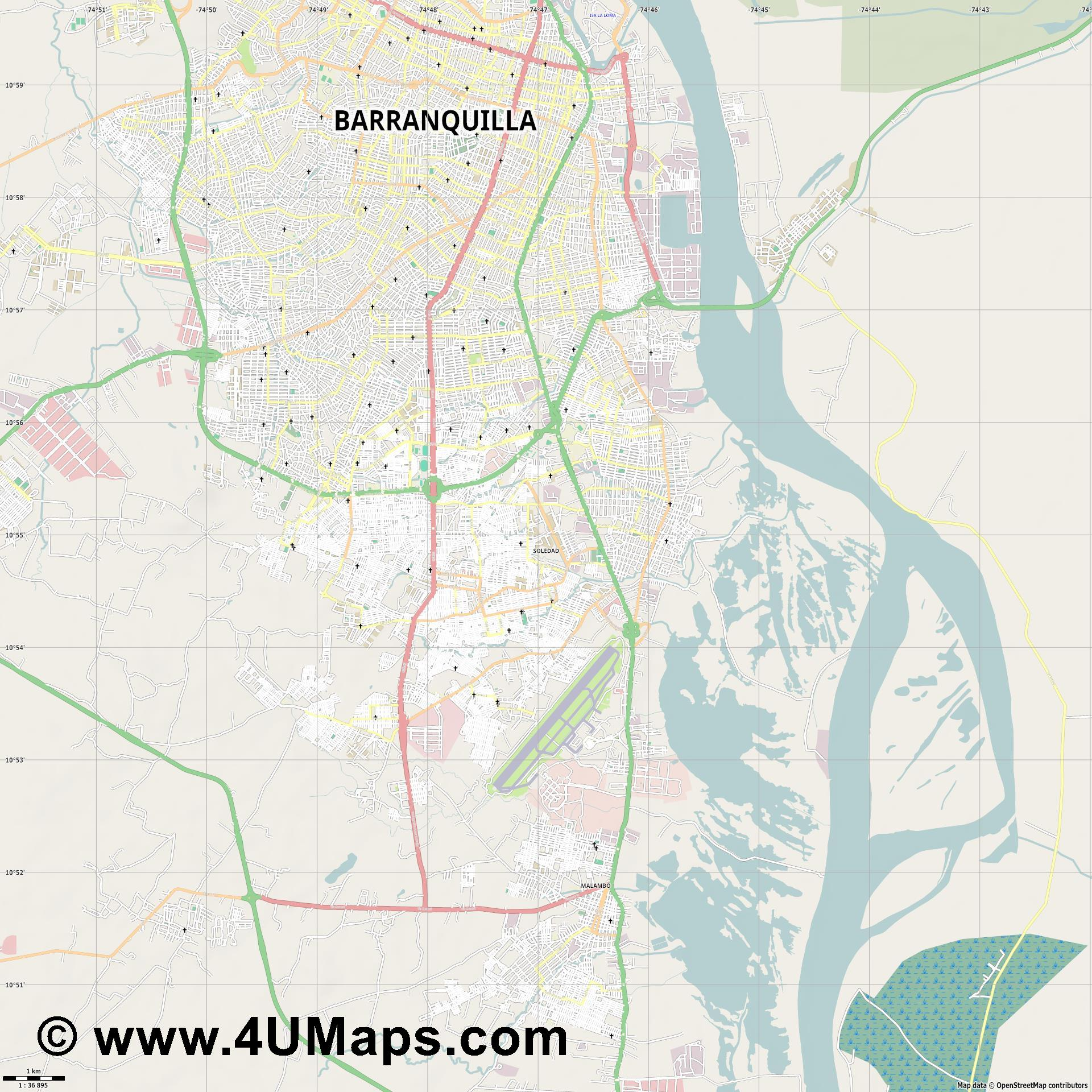 Soledad  jpg high detail, large area preview vector city map