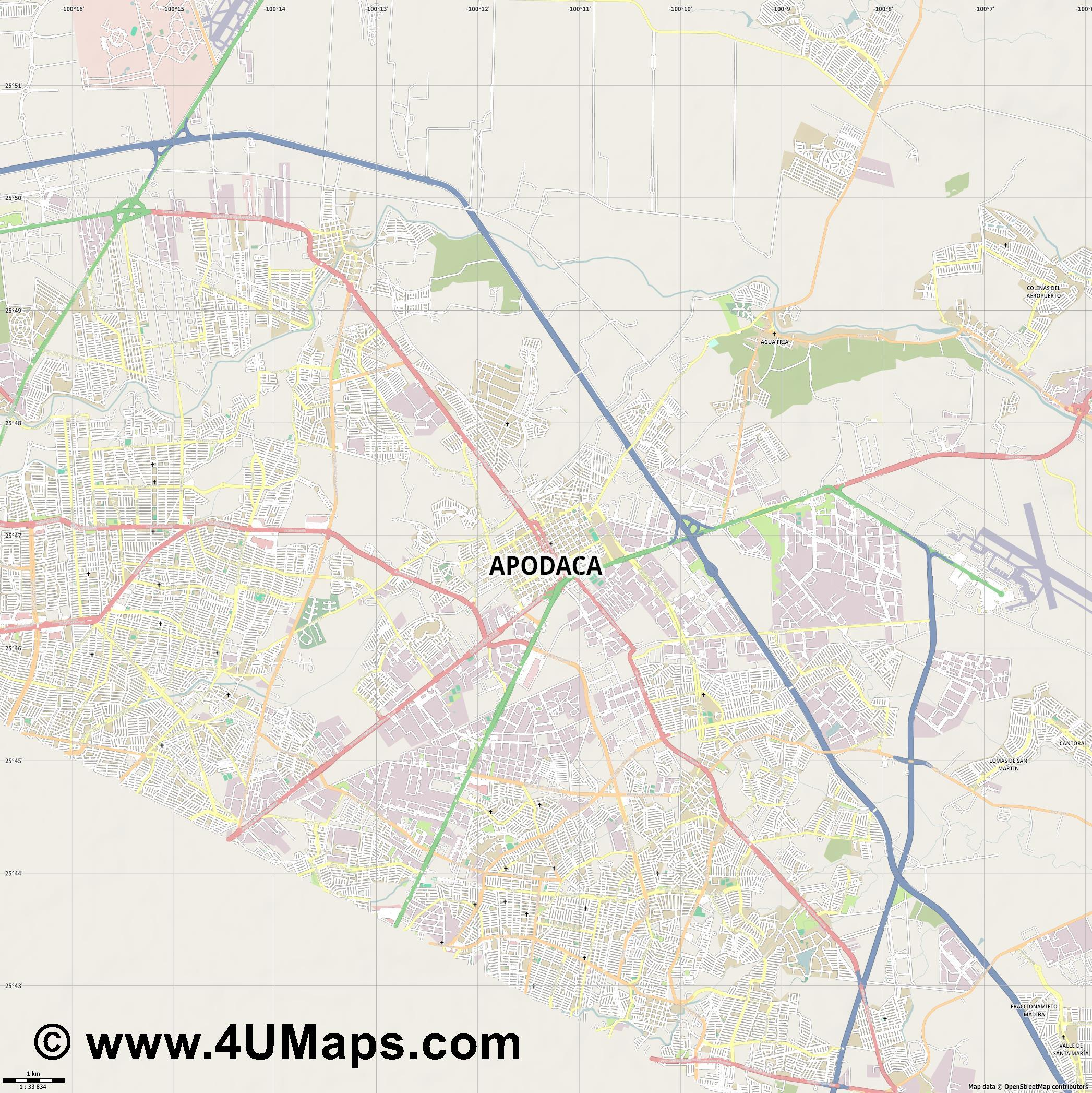 Apodaca  jpg high detail, large area preview vector city map