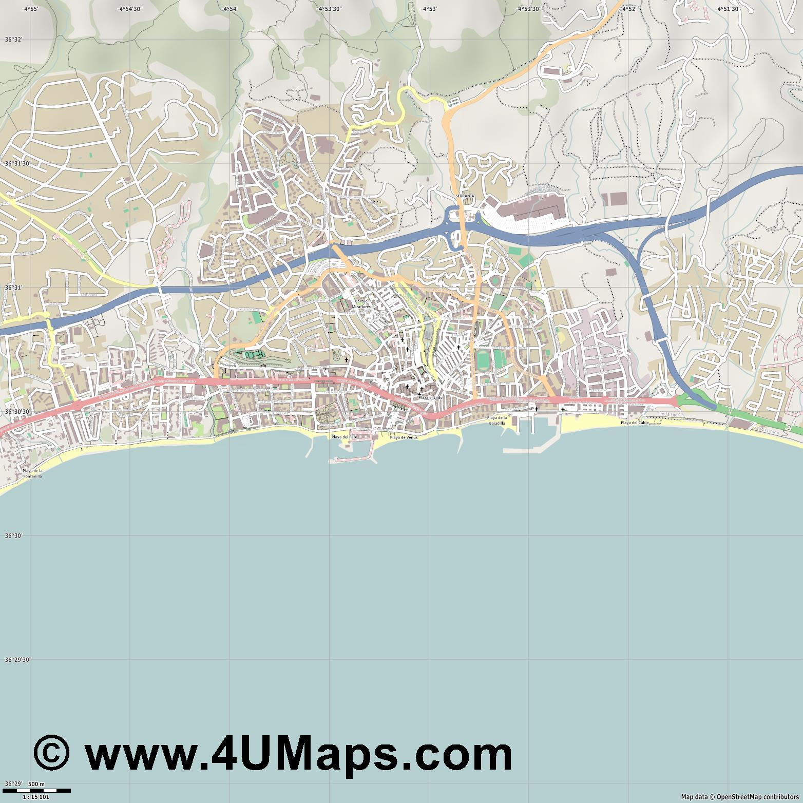 Marbella  jpg ultra high detail preview vector city map