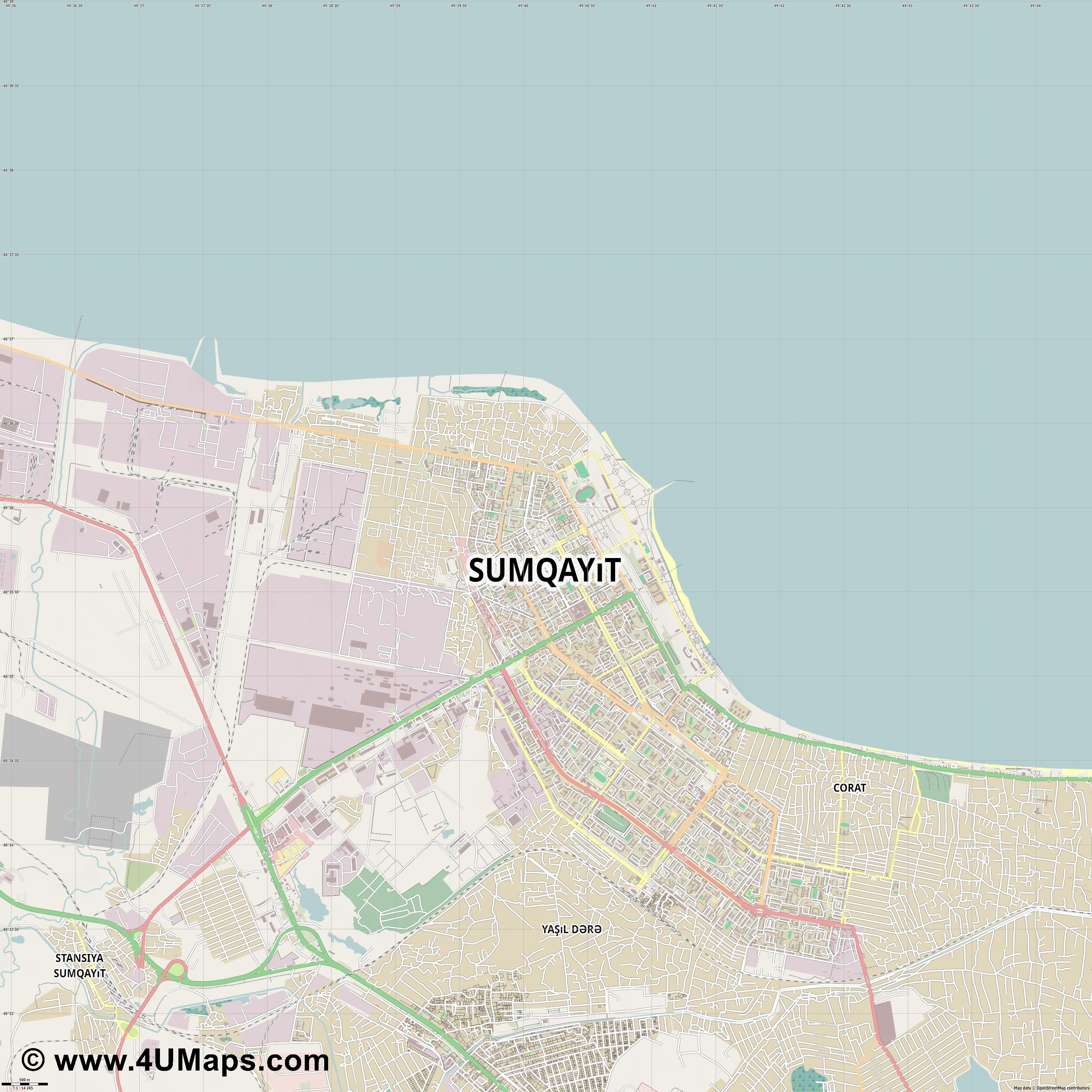 Sumqayıt Sumgayit  jpg ultra high detail preview vector city map