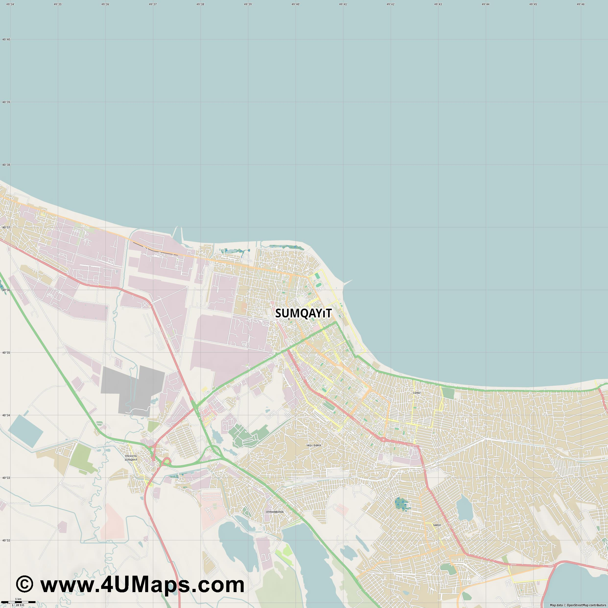 Sumqayıt Sumgayit  jpg high detail, large area preview vector city map