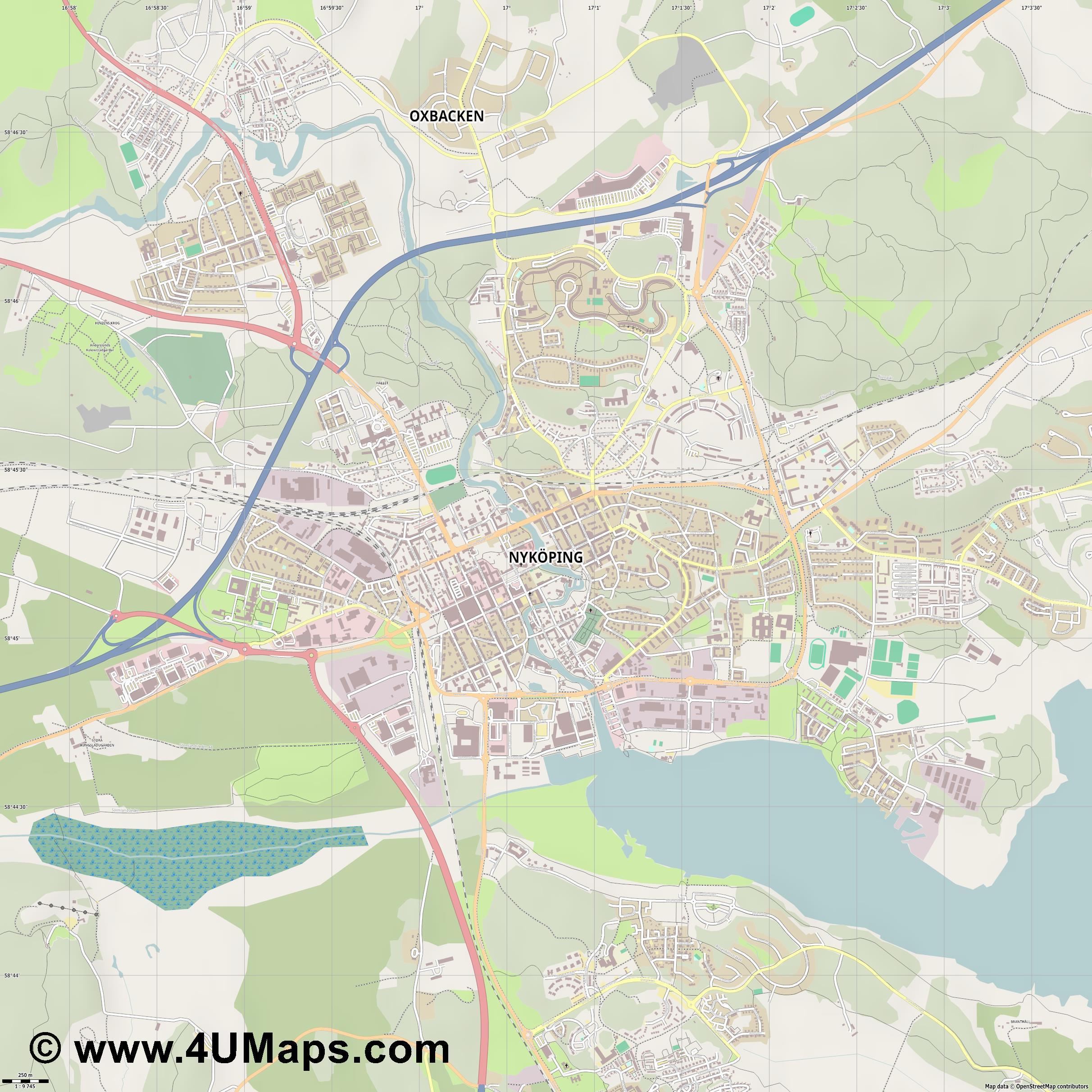 Nyköping  jpg ultra high detail preview vector city map