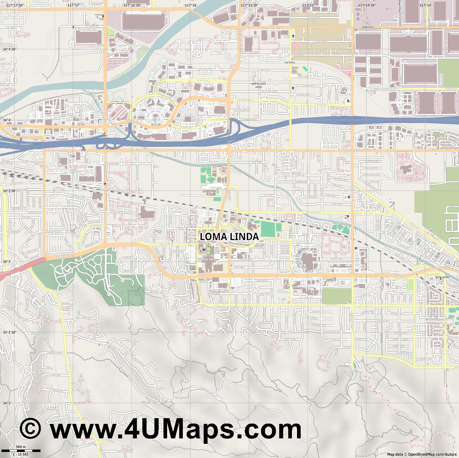 Loma Linda  jpg ultra high detail preview vector city map