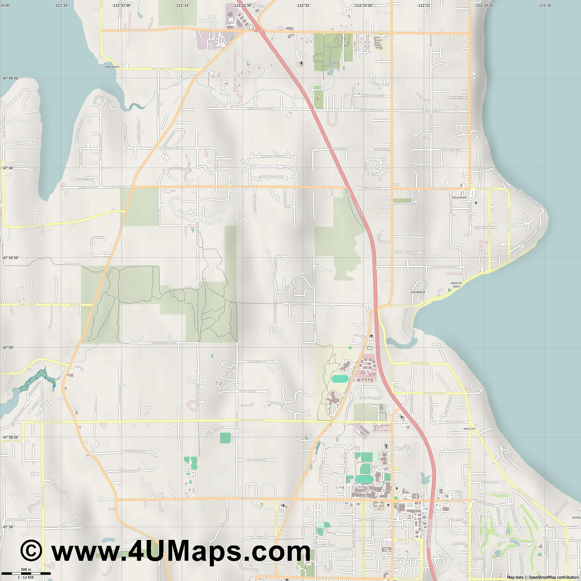 Bainbridge Island  jpg ultra high detail preview vector city map