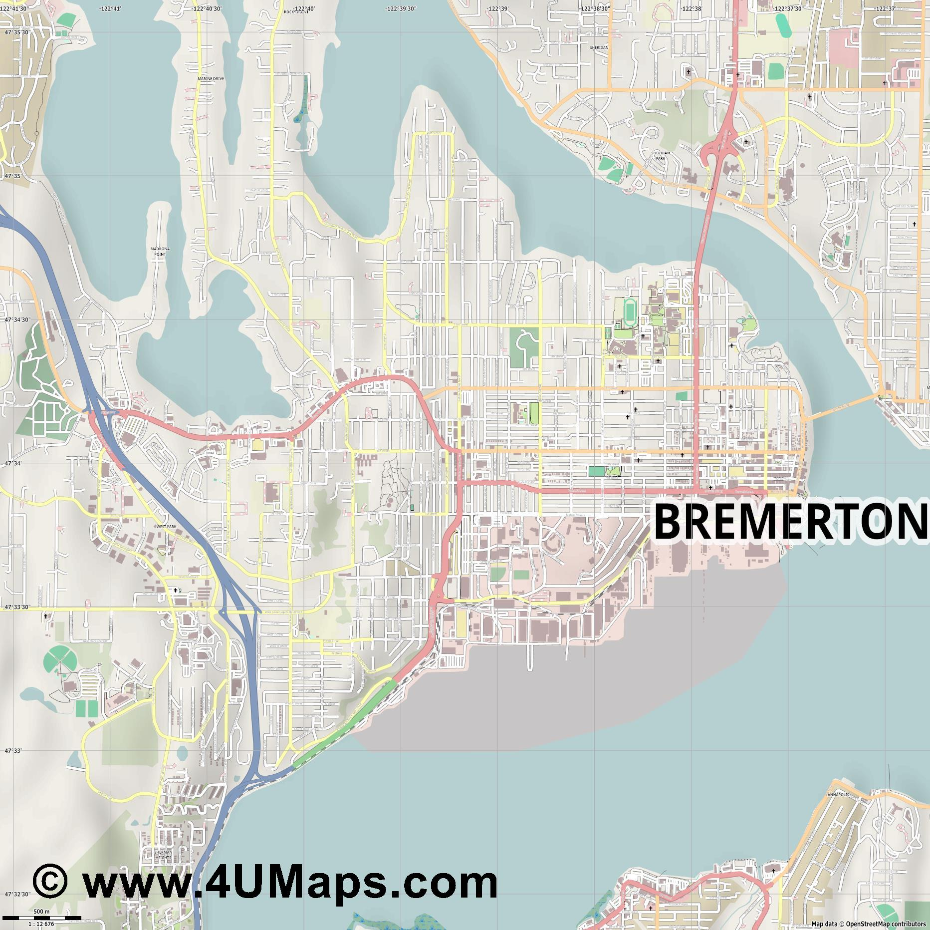Bremerton  jpg ultra high detail preview vector city map