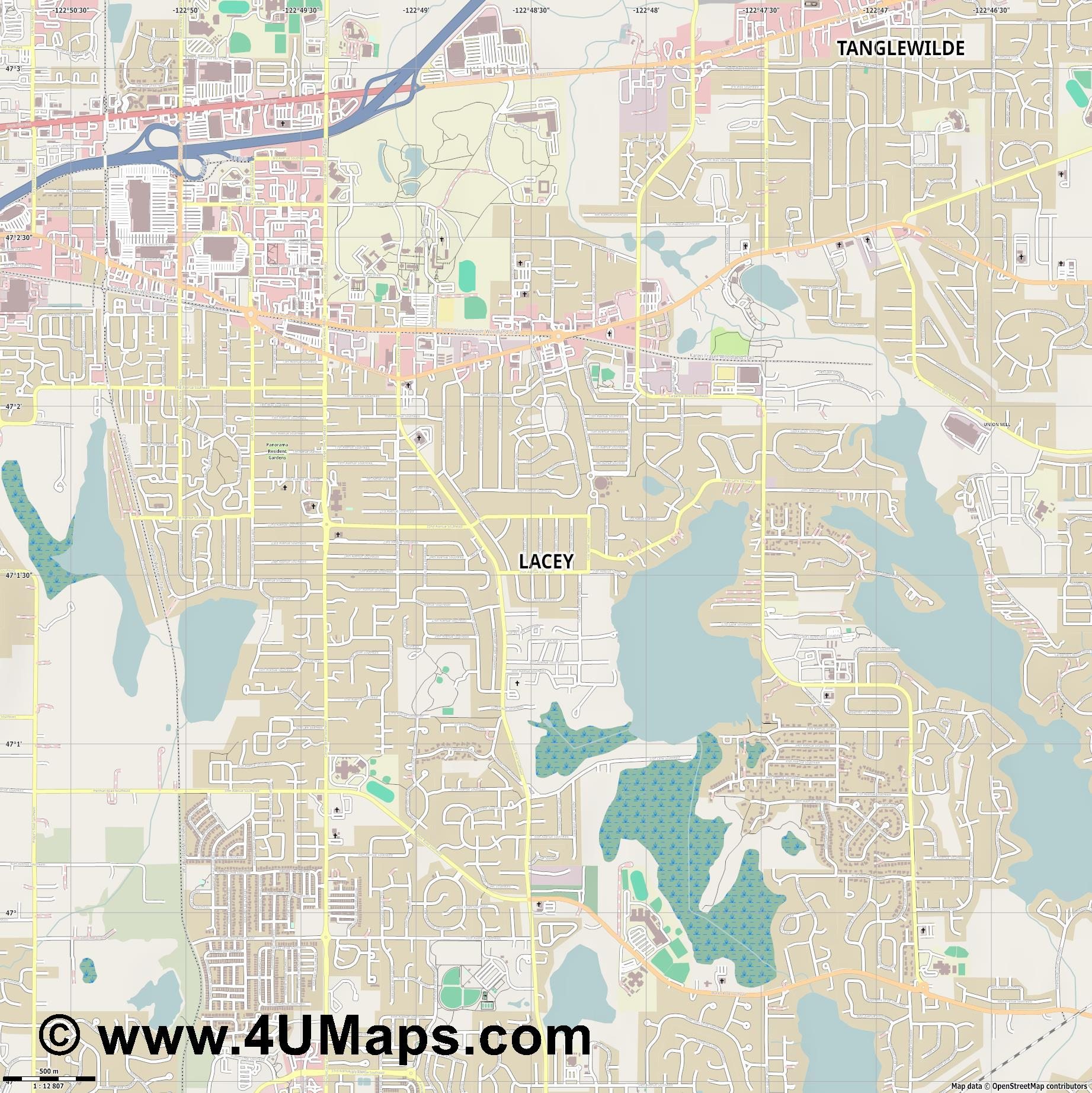 Lacey  jpg ultra high detail preview vector city map