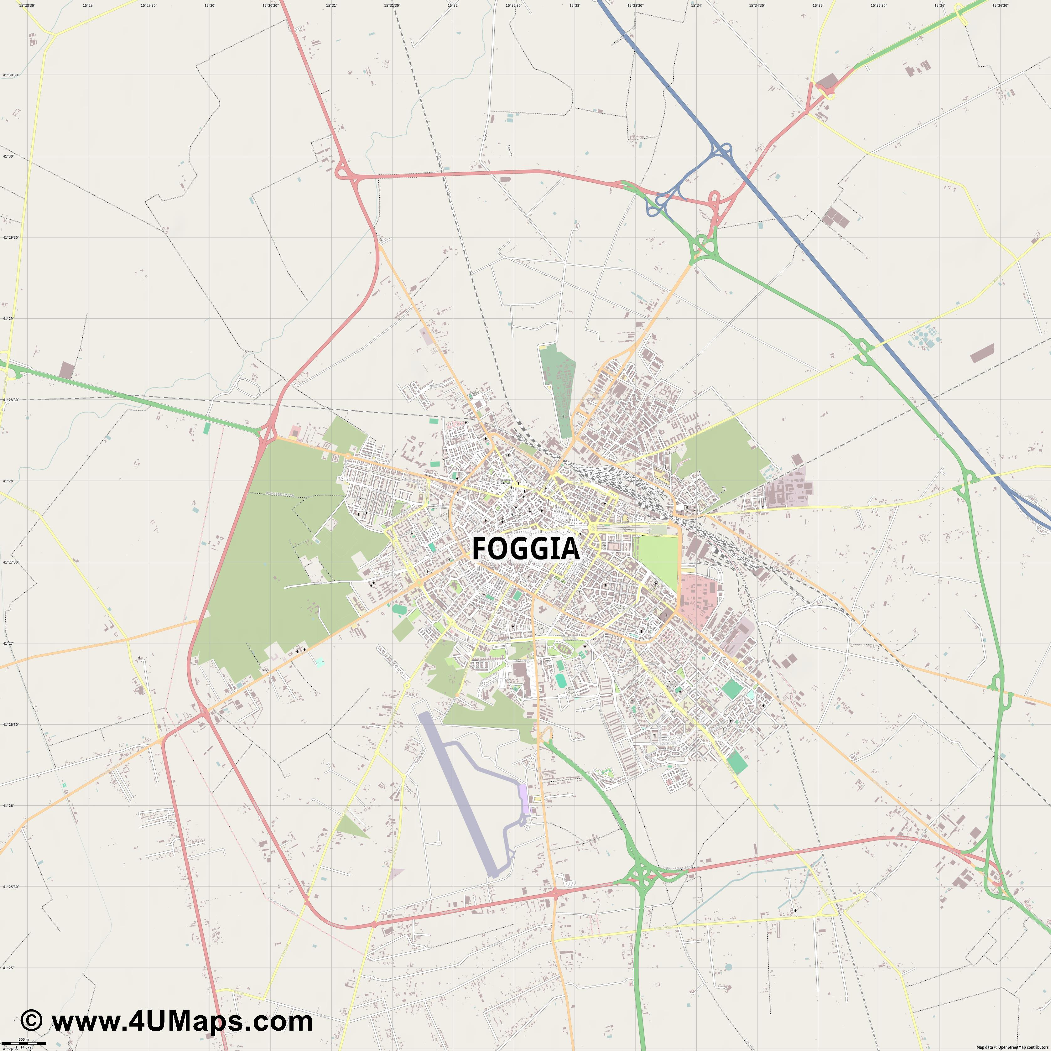 Foggia  jpg ultra high detail preview vector city map