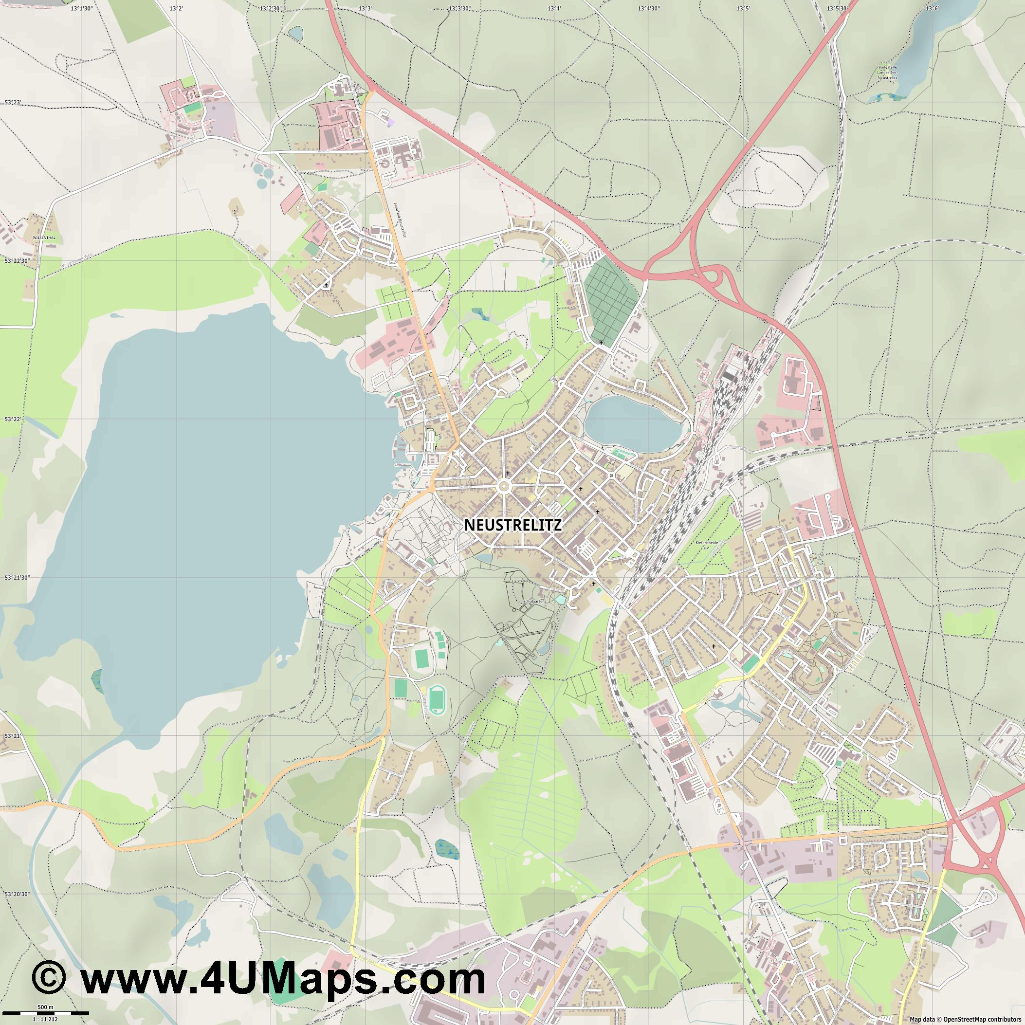 Neustrelitz  jpg ultra high detail preview vector city map