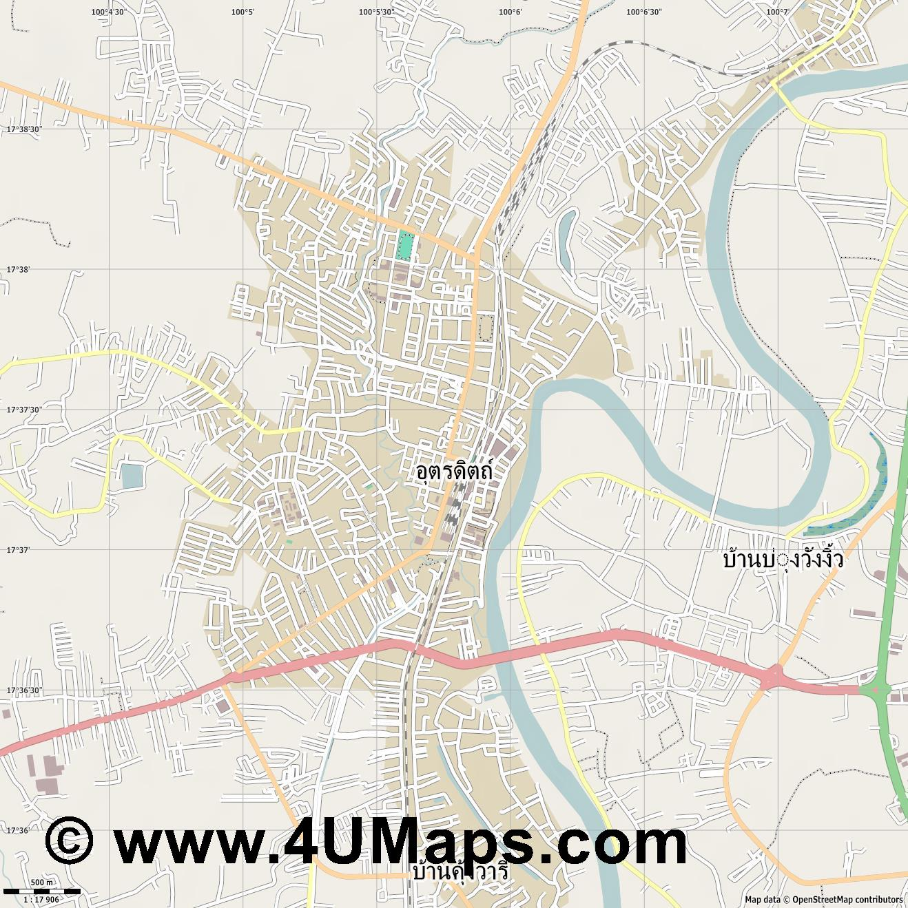 อ ตรด ตถ  Uttaradit  jpg ultra high detail preview vector city map