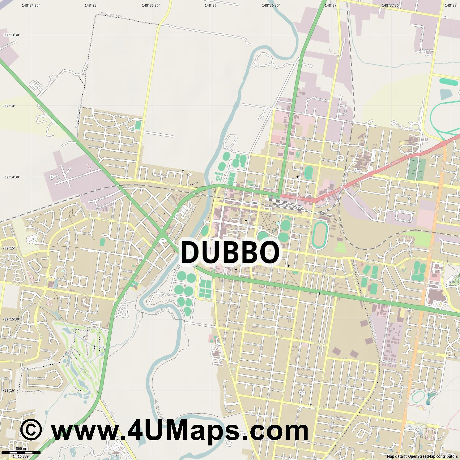 Dubbo  jpg ultra high detail preview vector city map