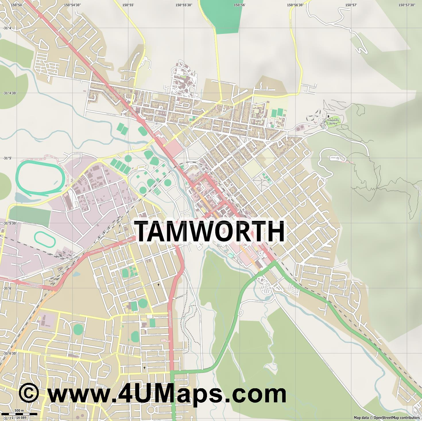 Tamworth  jpg ultra high detail preview vector city map