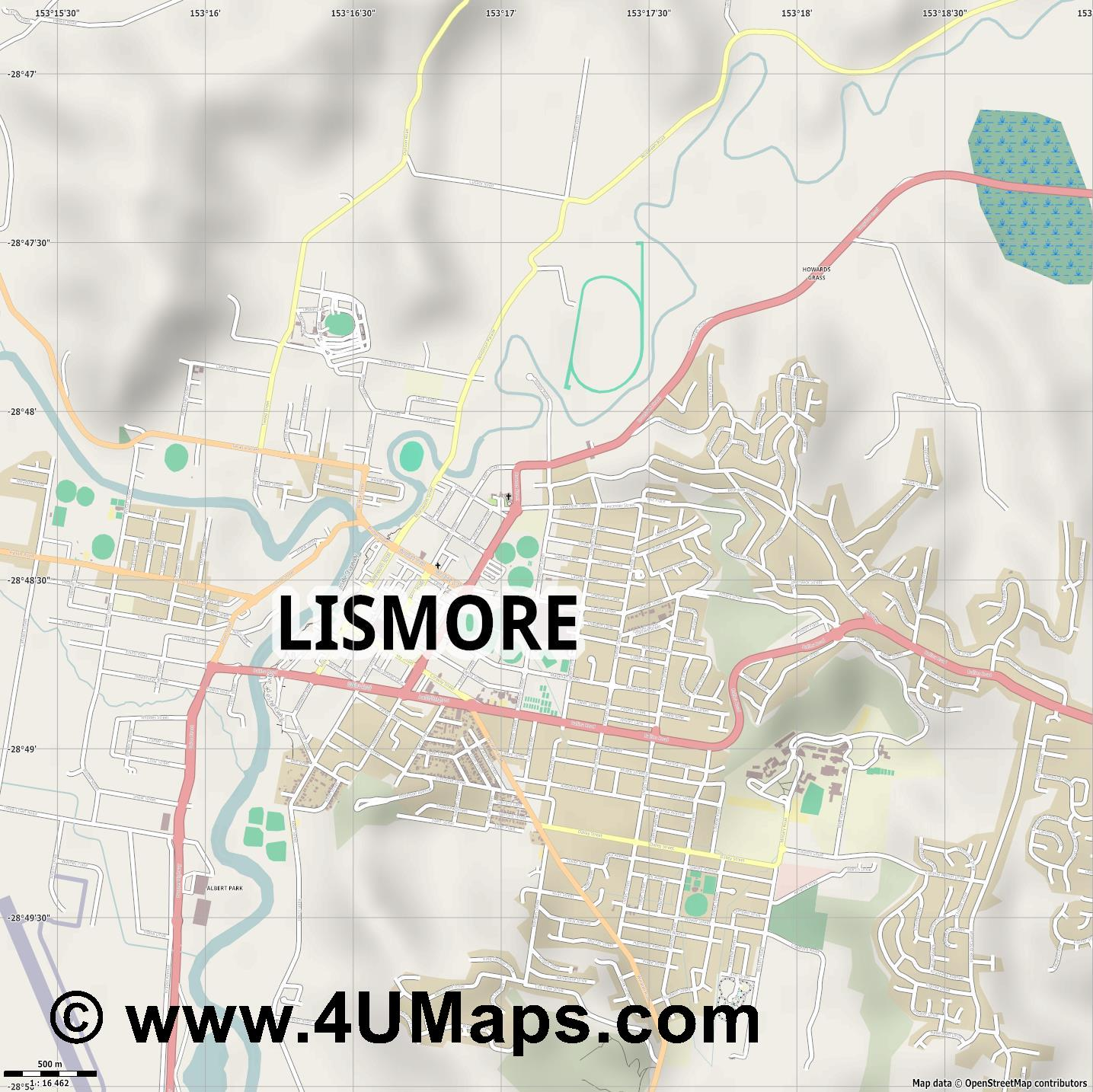 Lismore  jpg ultra high detail preview vector city map