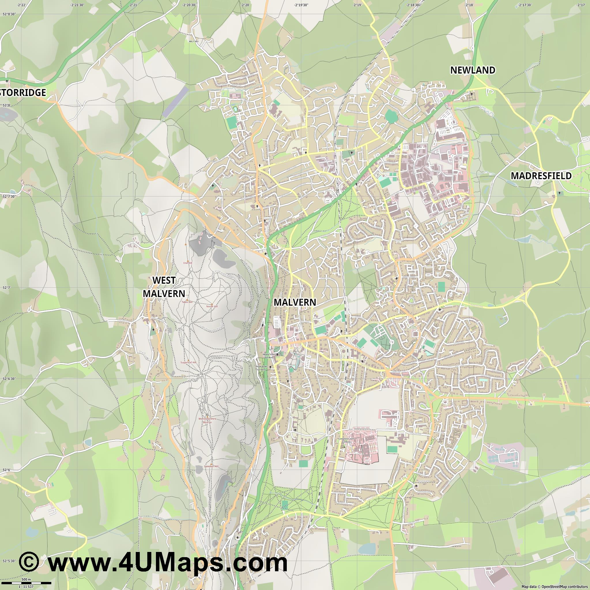 Malvern  jpg ultra high detail preview vector city map
