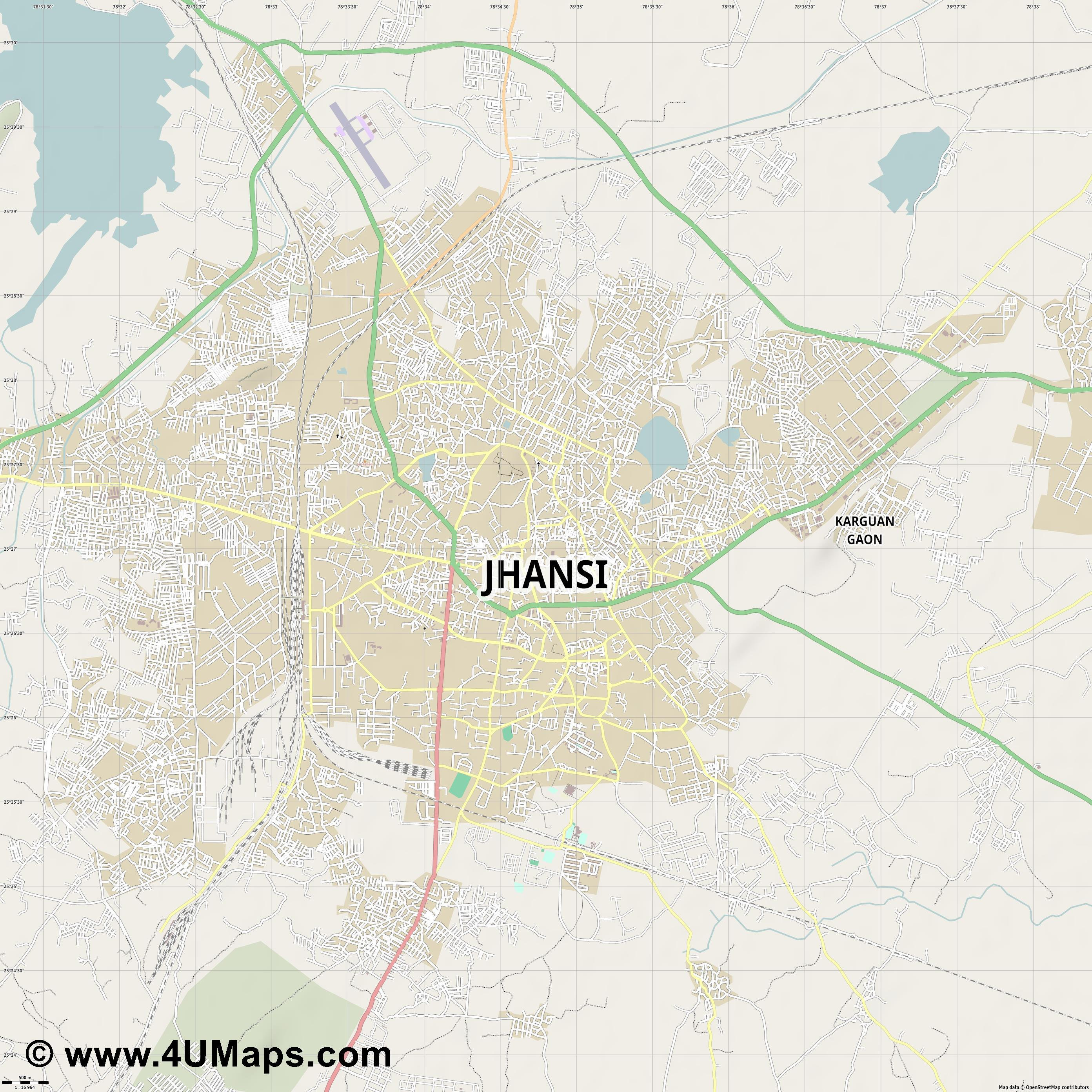 Jhansi  jpg ultra high detail preview vector city map