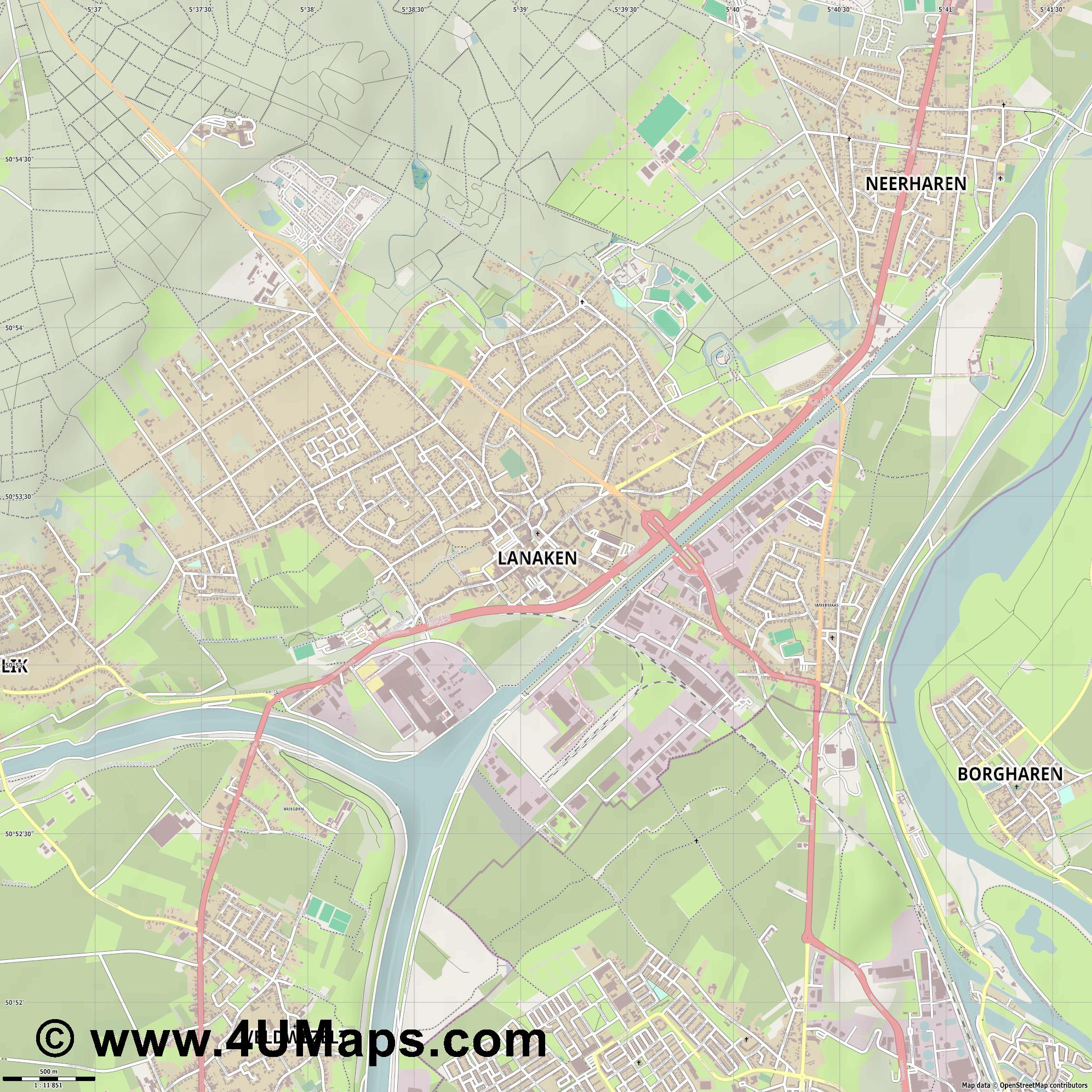 Lanaken  jpg ultra high detail preview vector city map