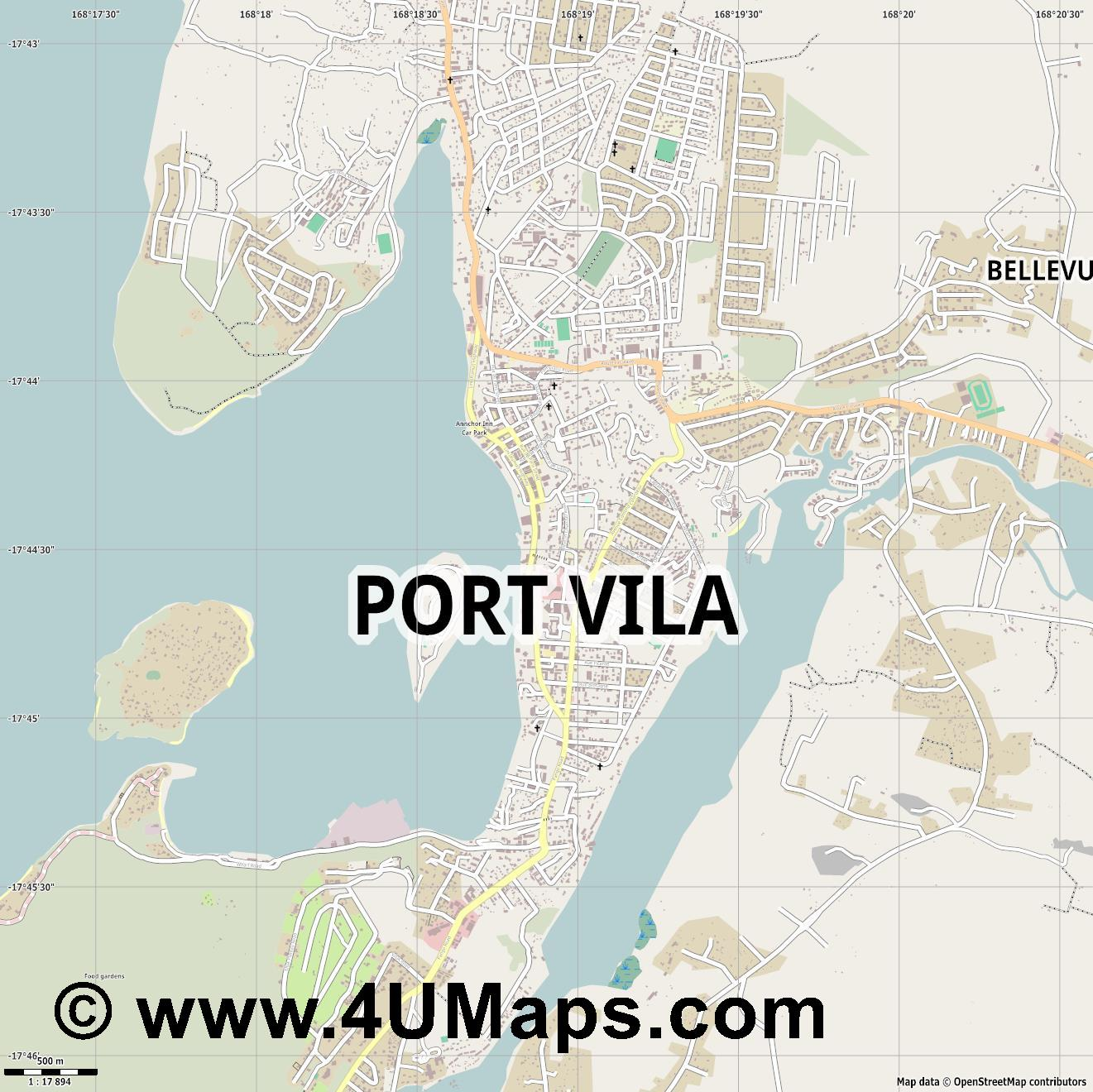 Port Vila  jpg ultra high detail preview vector city map