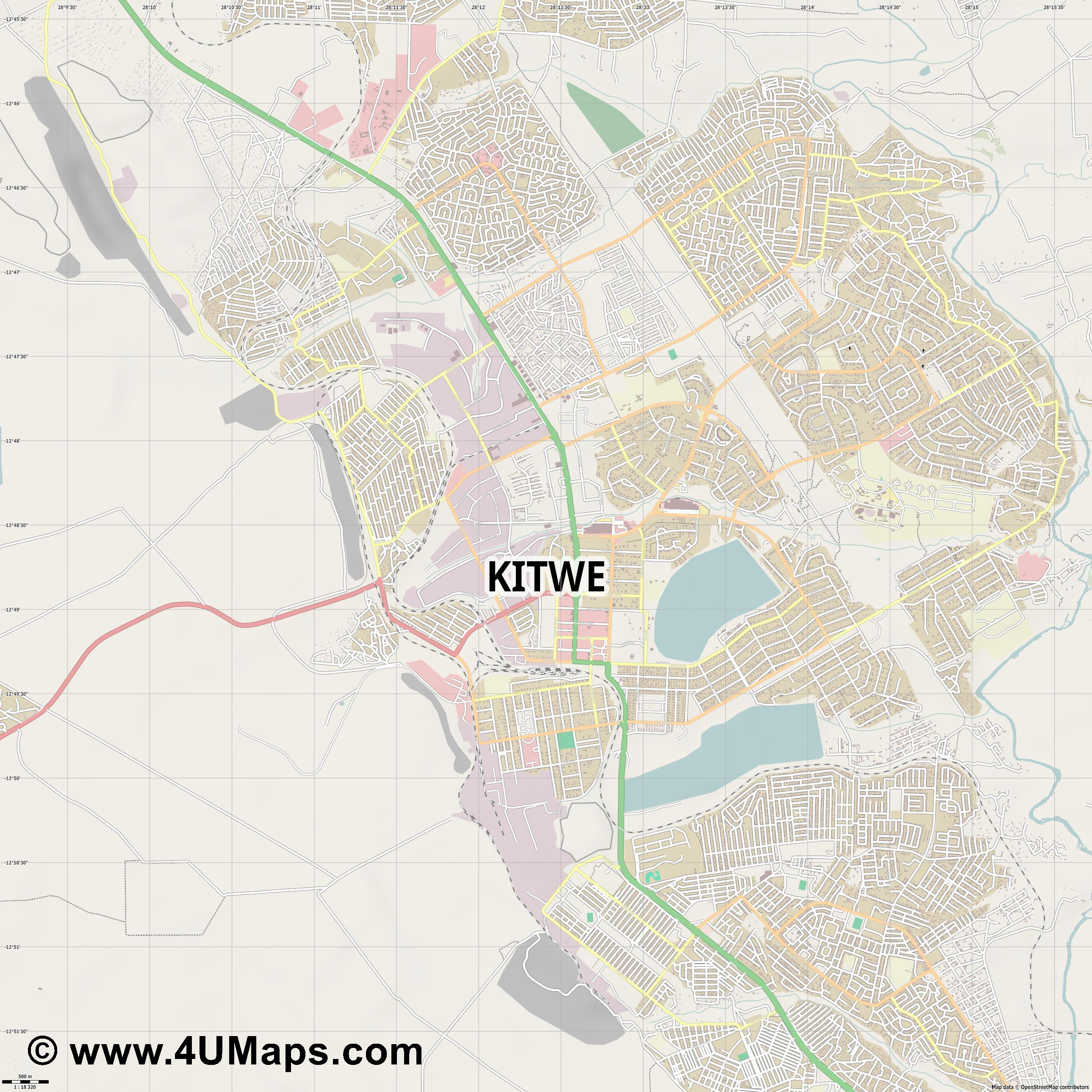 Kitwe  jpg ultra high detail preview vector city map