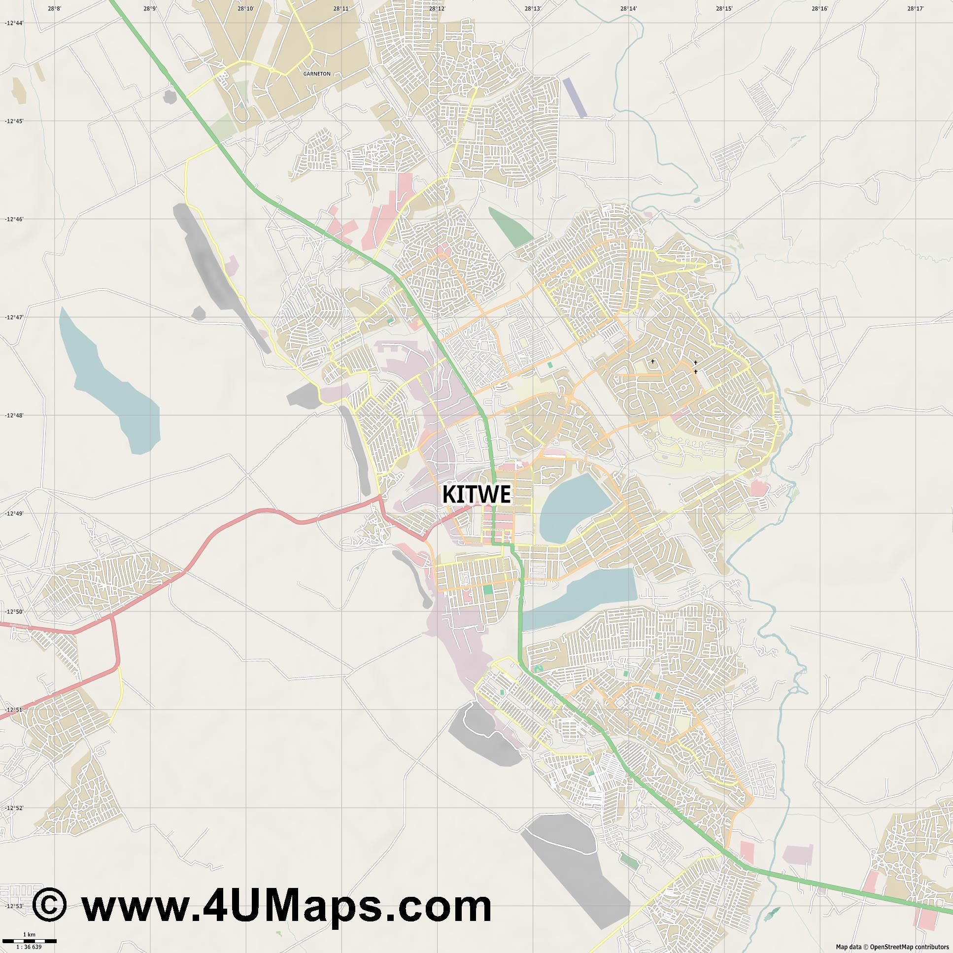 Kitwe  jpg high detail, large area preview vector city map