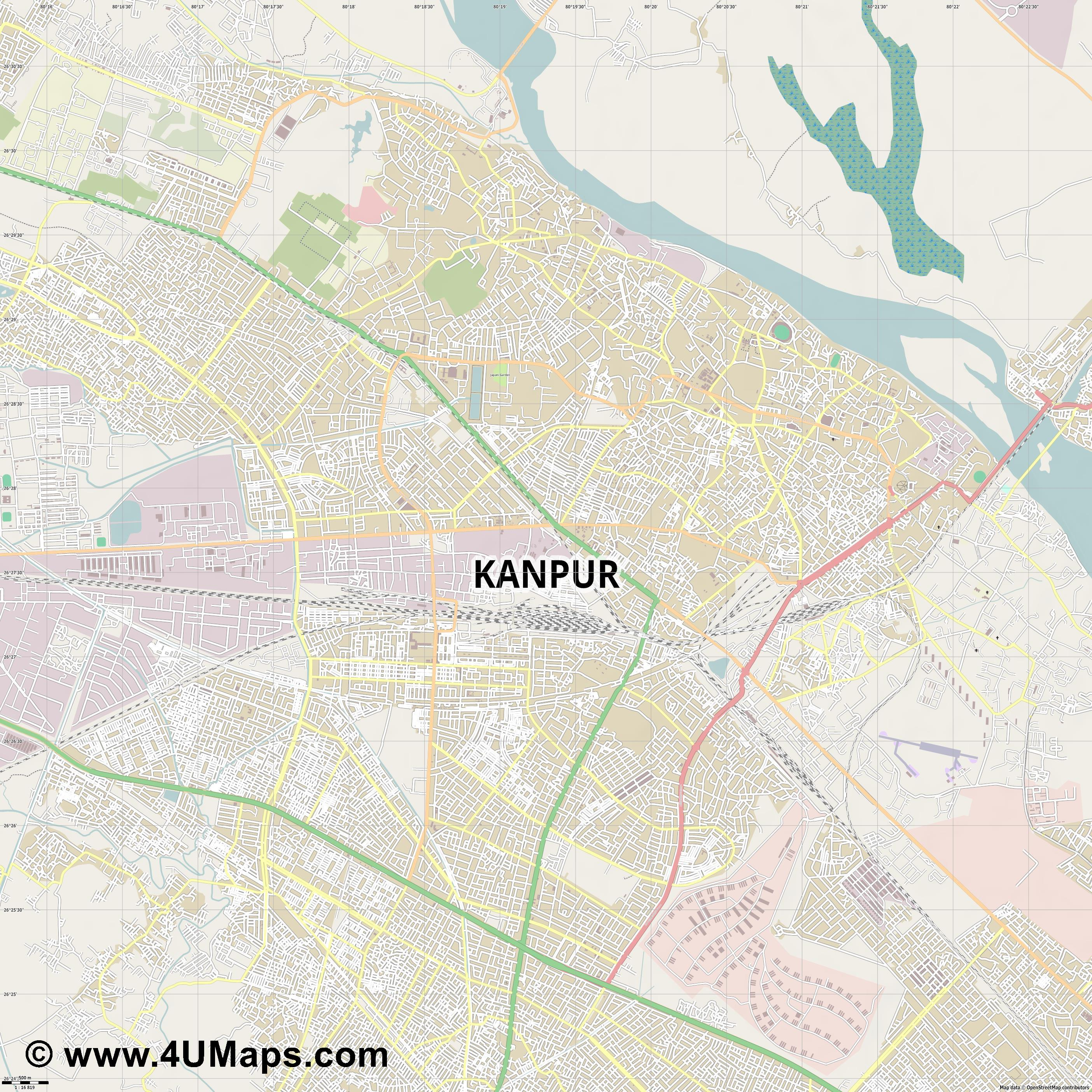 Kanpur  jpg ultra high detail preview vector city map