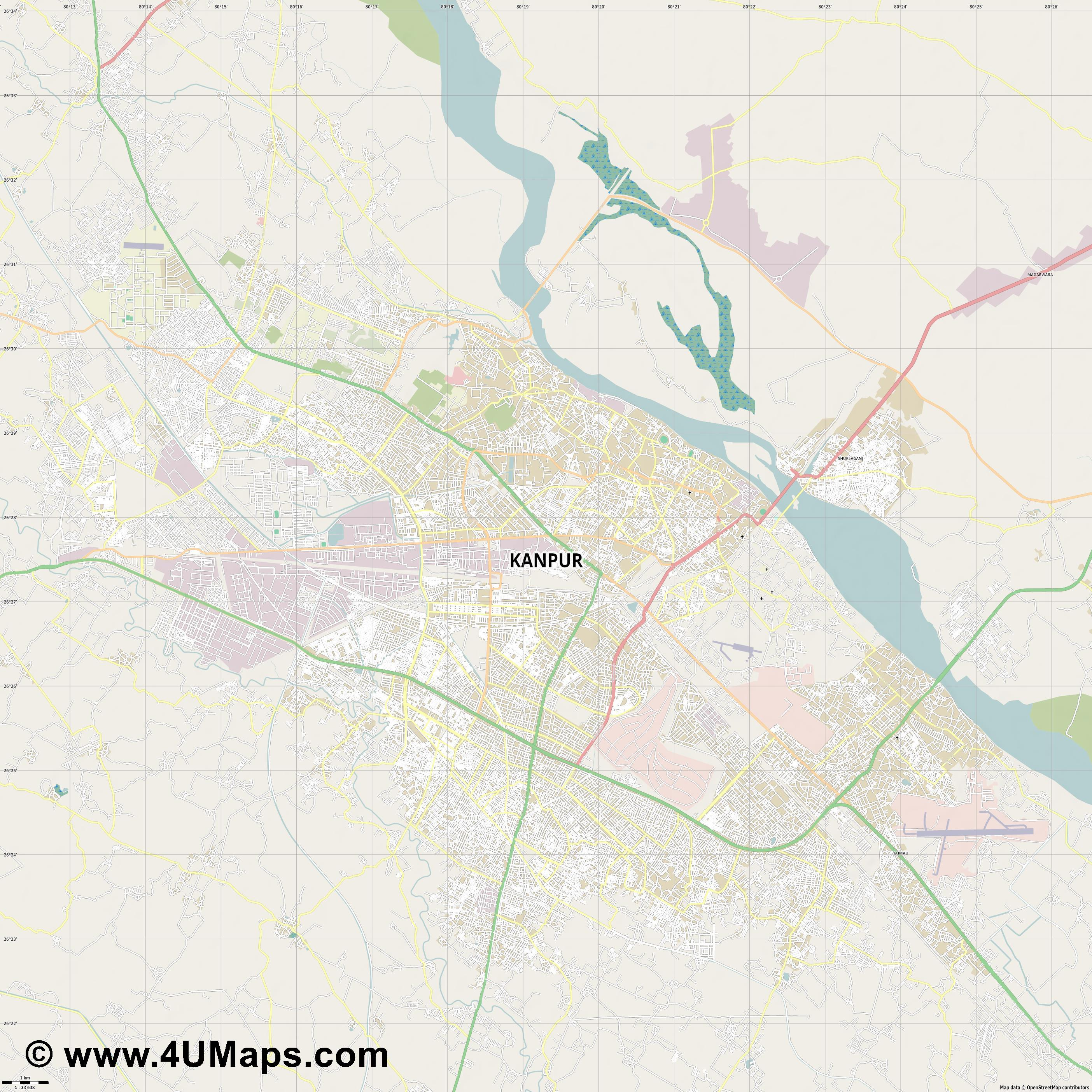Kanpur  jpg high detail, large area preview vector city map