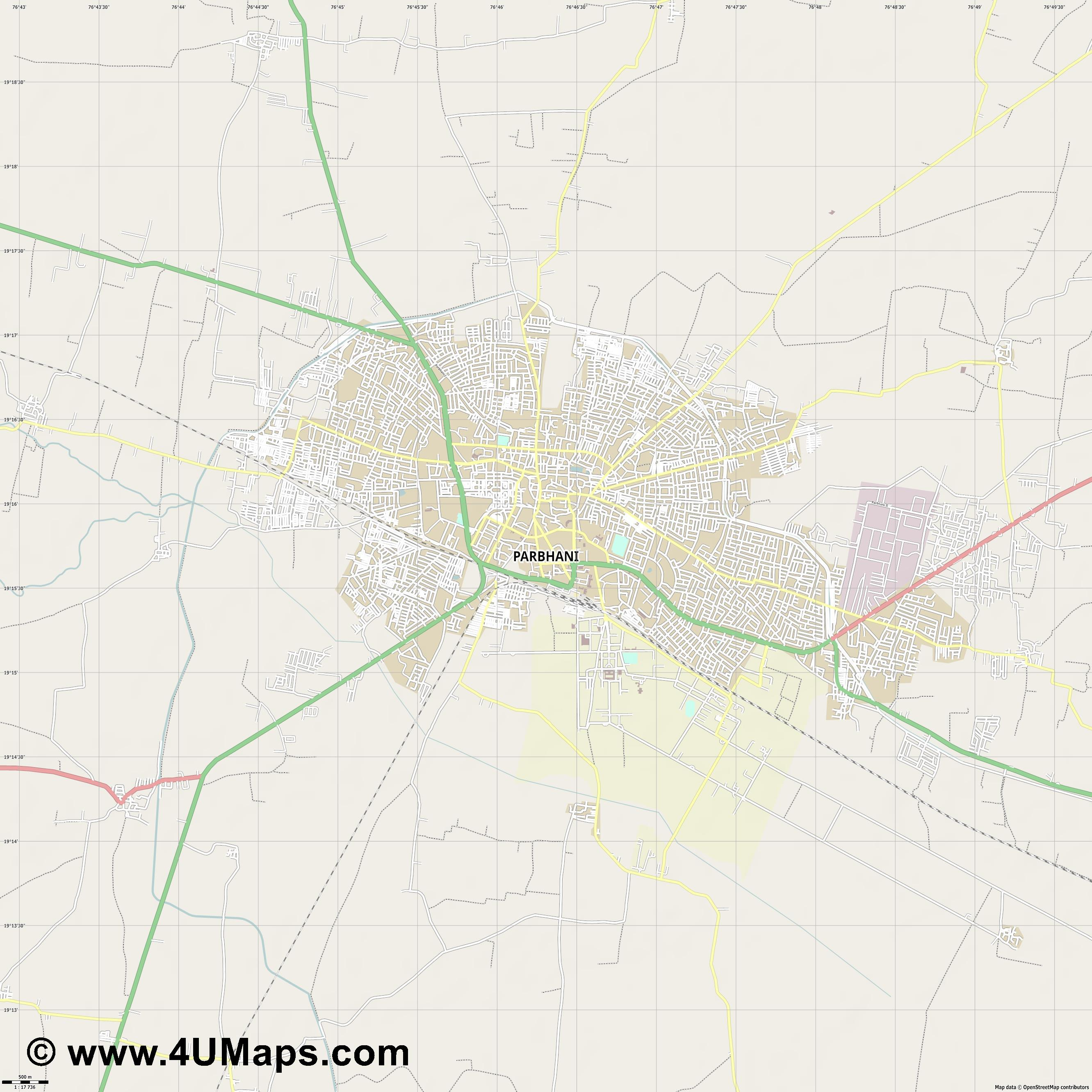 Parbhani  jpg ultra high detail preview vector city map