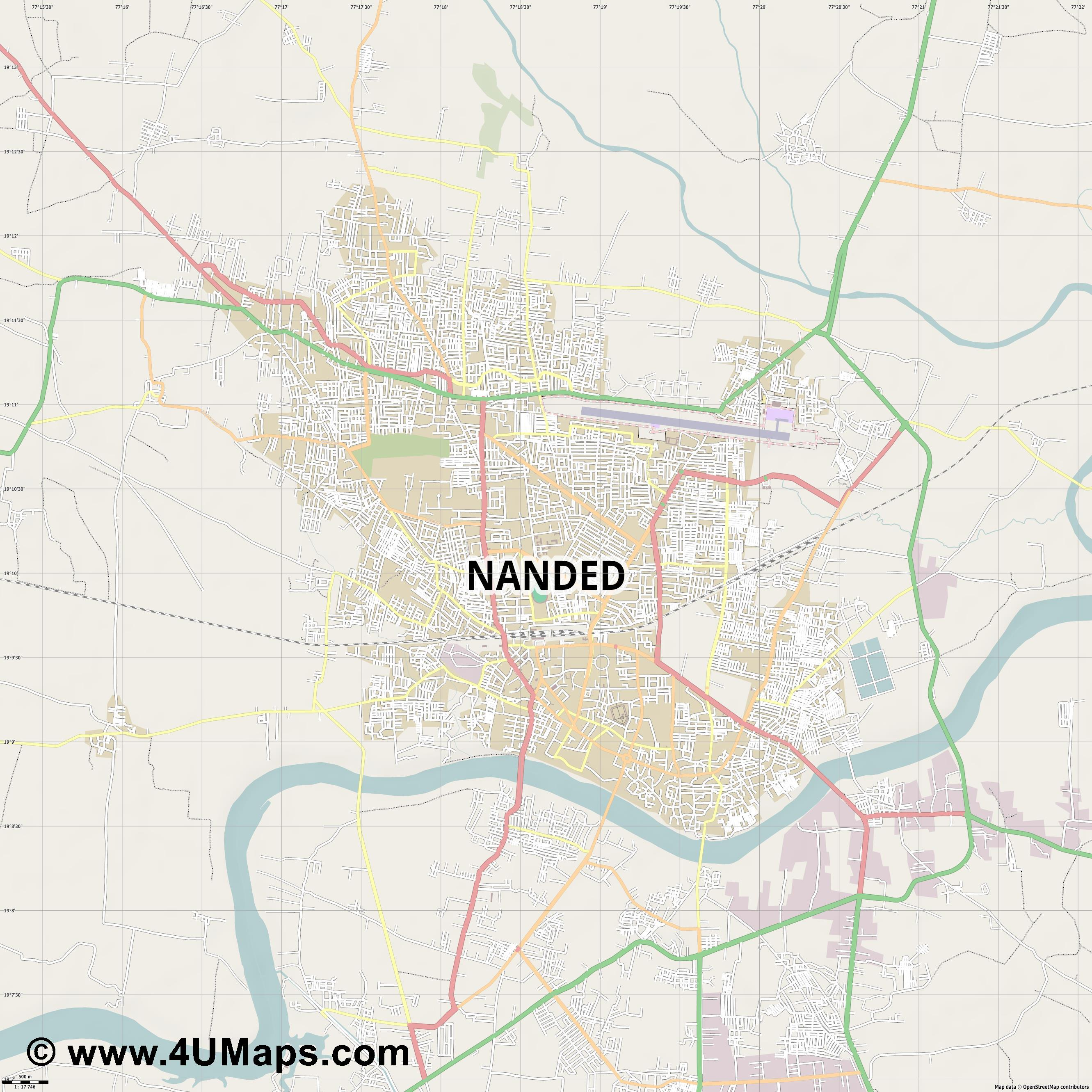 Nanded Waghala  jpg ultra high detail preview vector city map