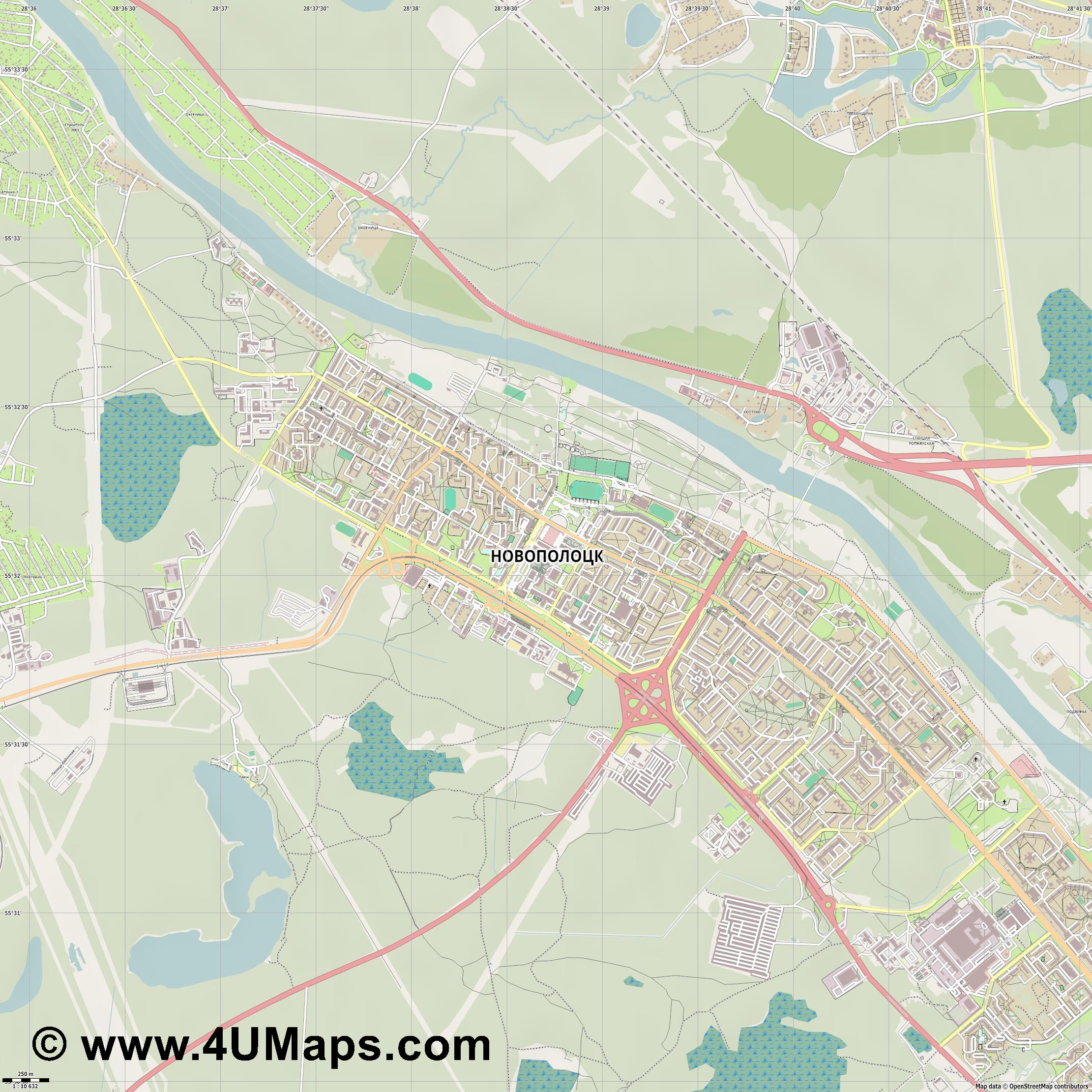 Новополоцк Navapolatsk Nawapolazk  jpg ultra high detail preview vector city map