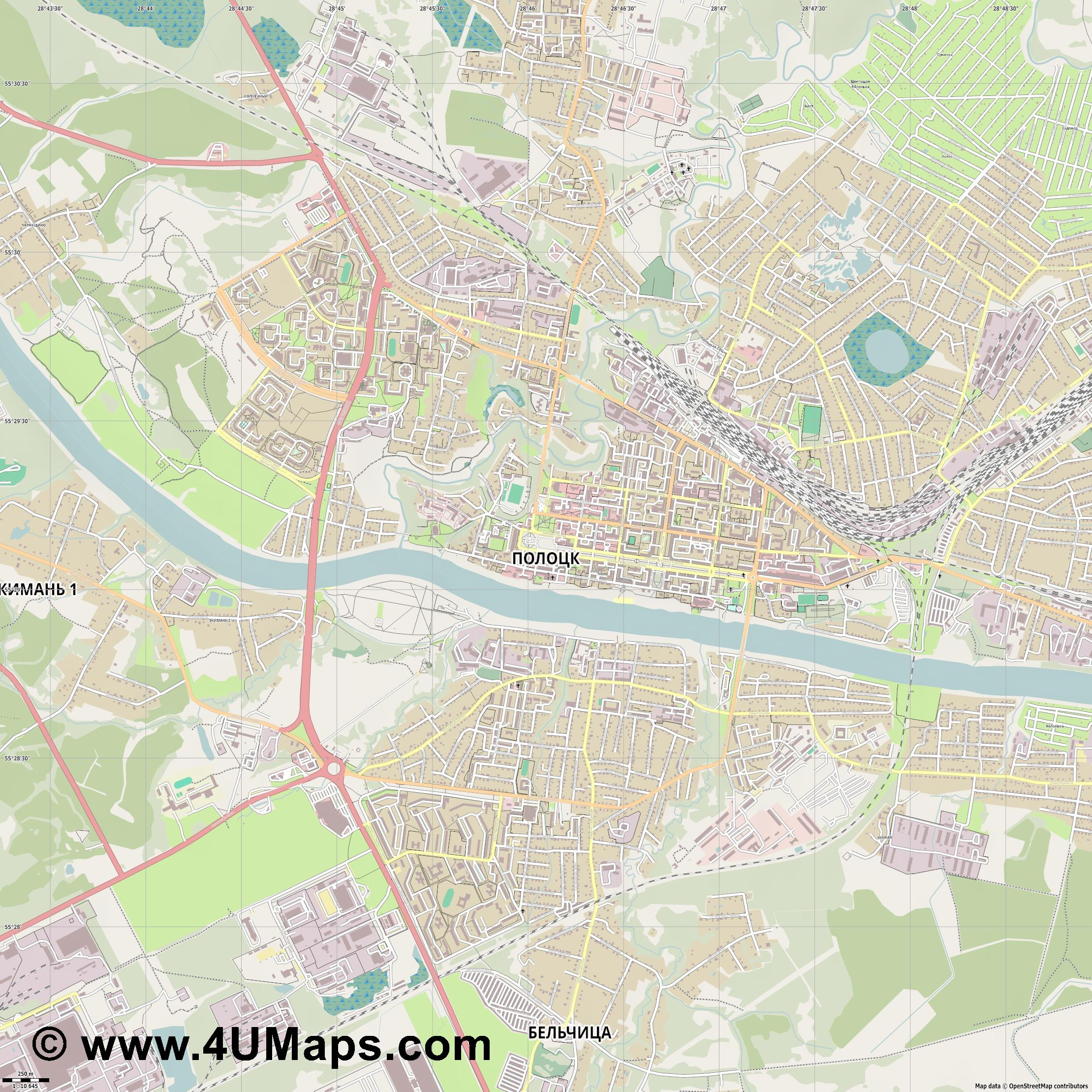 Полоцк Polotsk Polazk  jpg ultra high detail preview vector city map