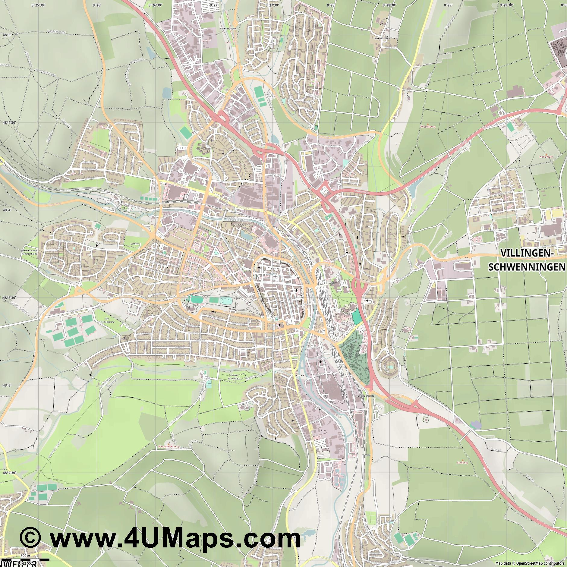 Villingen  jpg ultra high detail preview vector city map