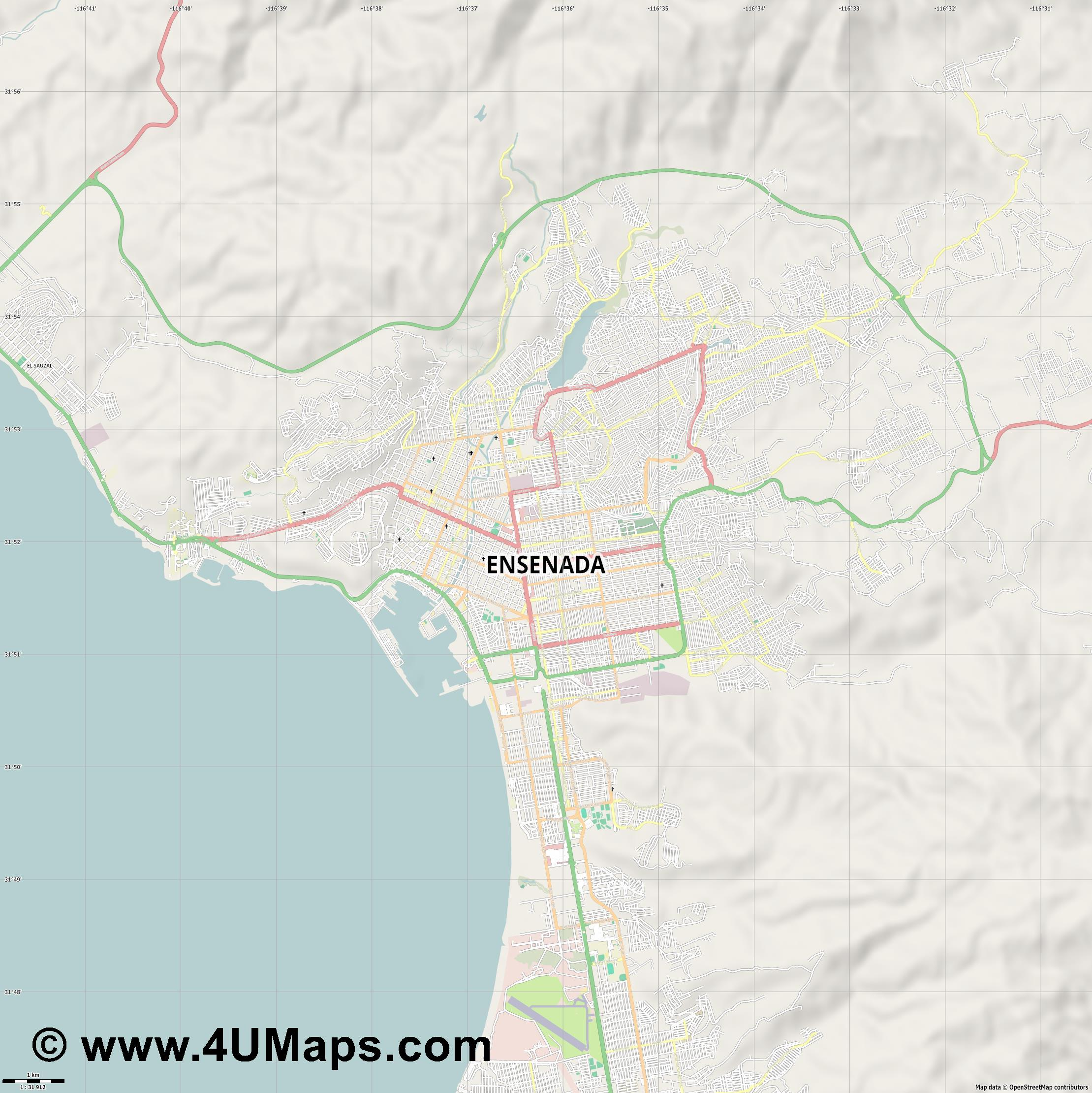 Ensenada  jpg high detail, large area preview vector city map