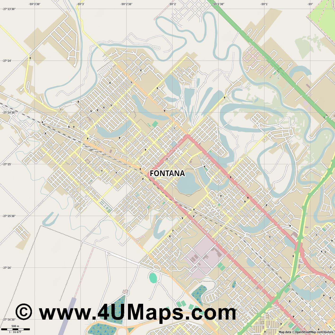 Fontana  jpg ultra high detail preview vector city map