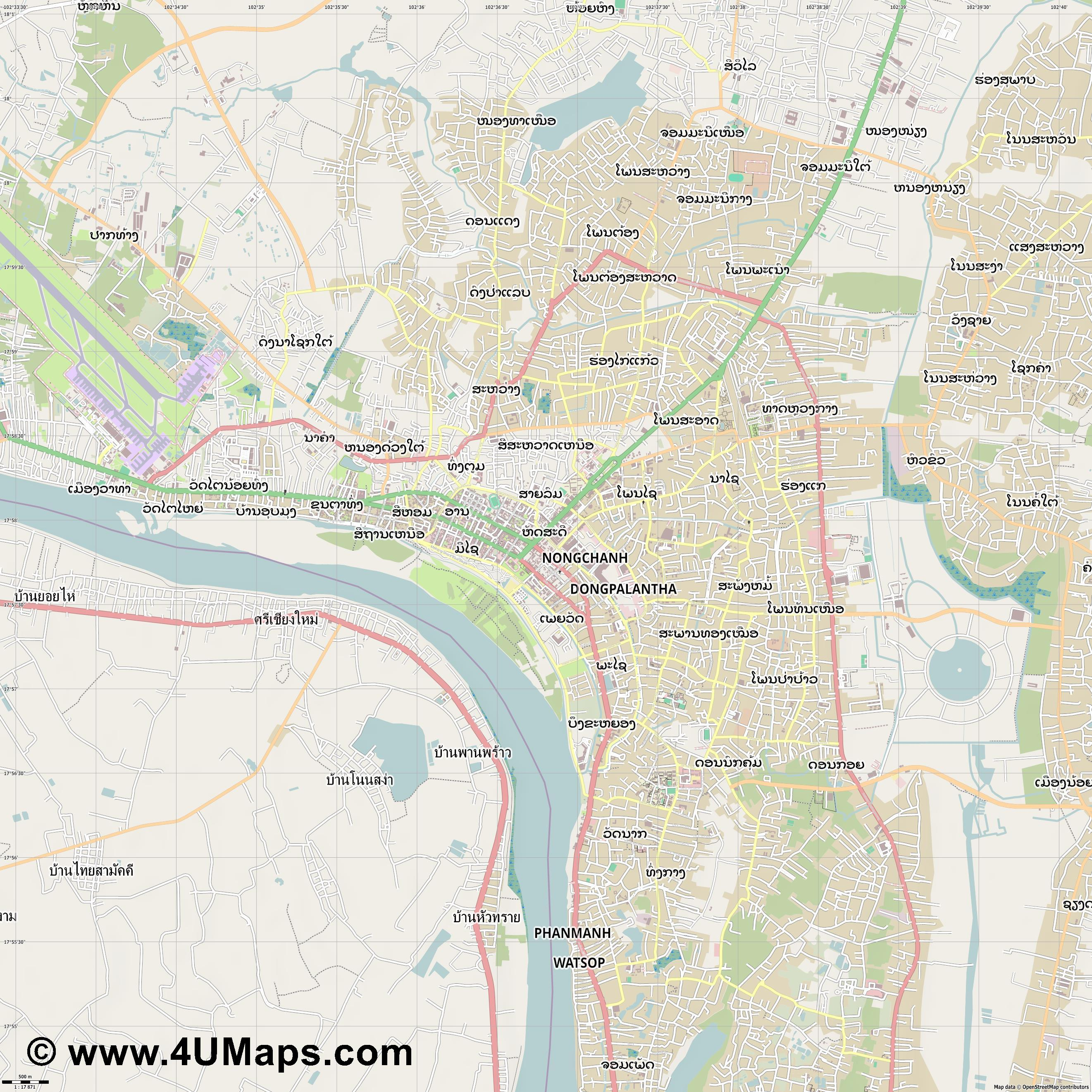 ວຽງຈ ນ Vientiane Vientián  jpg ultra high detail preview vector city map