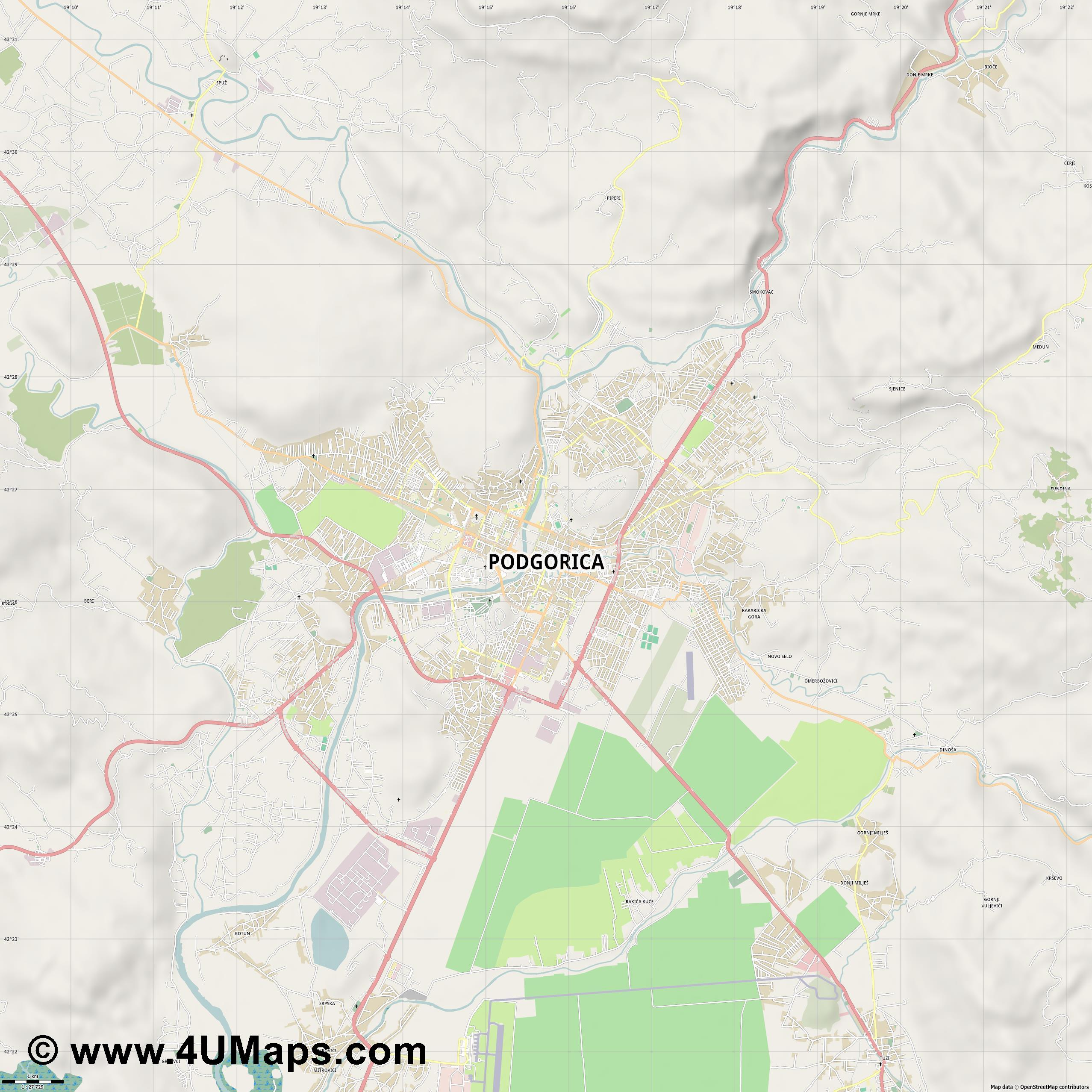Podgorica  jpg high detail, large area preview vector city map