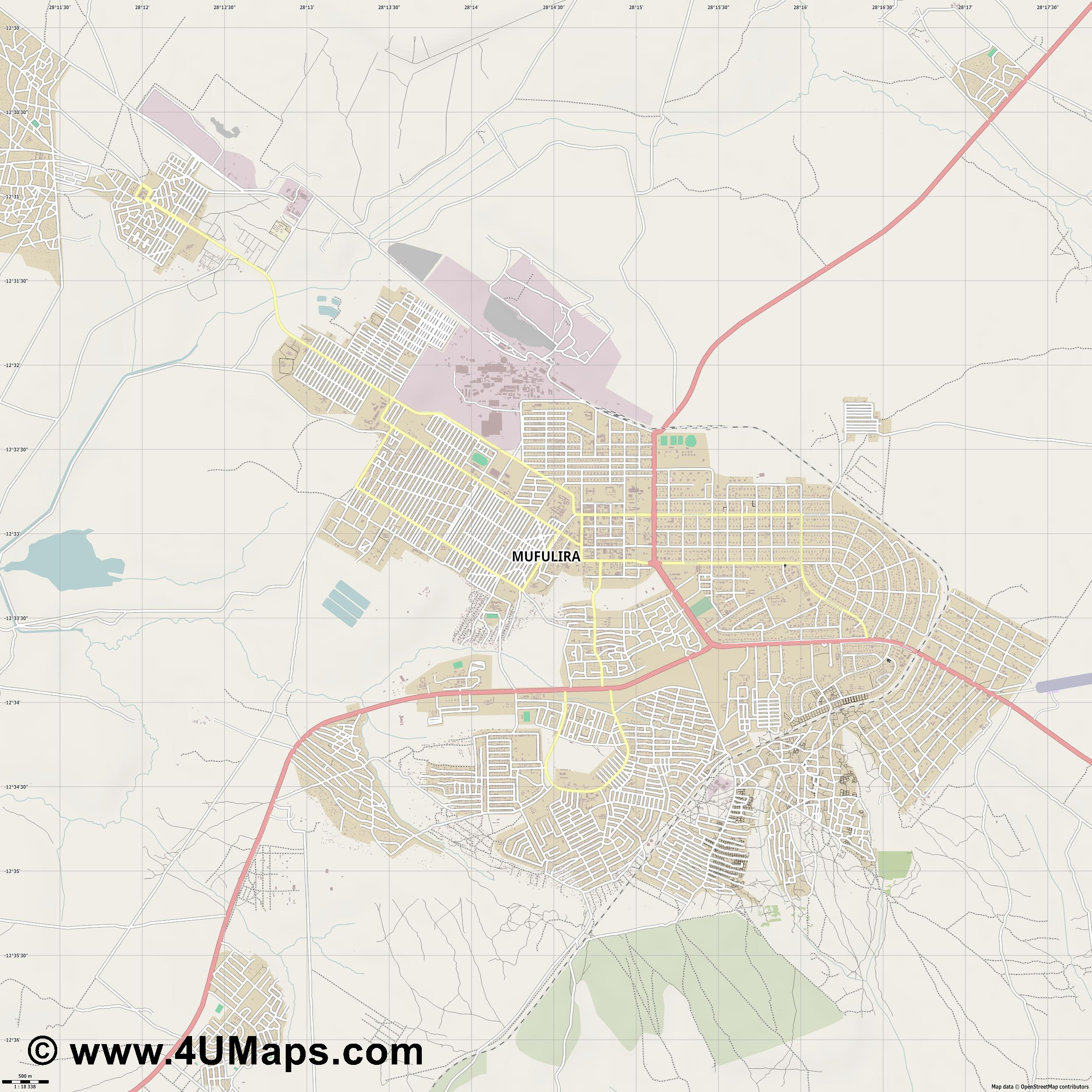 Mufulira  jpg ultra high detail preview vector city map