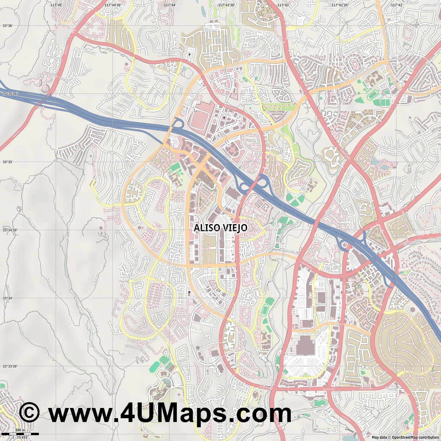 Aliso Viejo  jpg ultra high detail preview vector city map