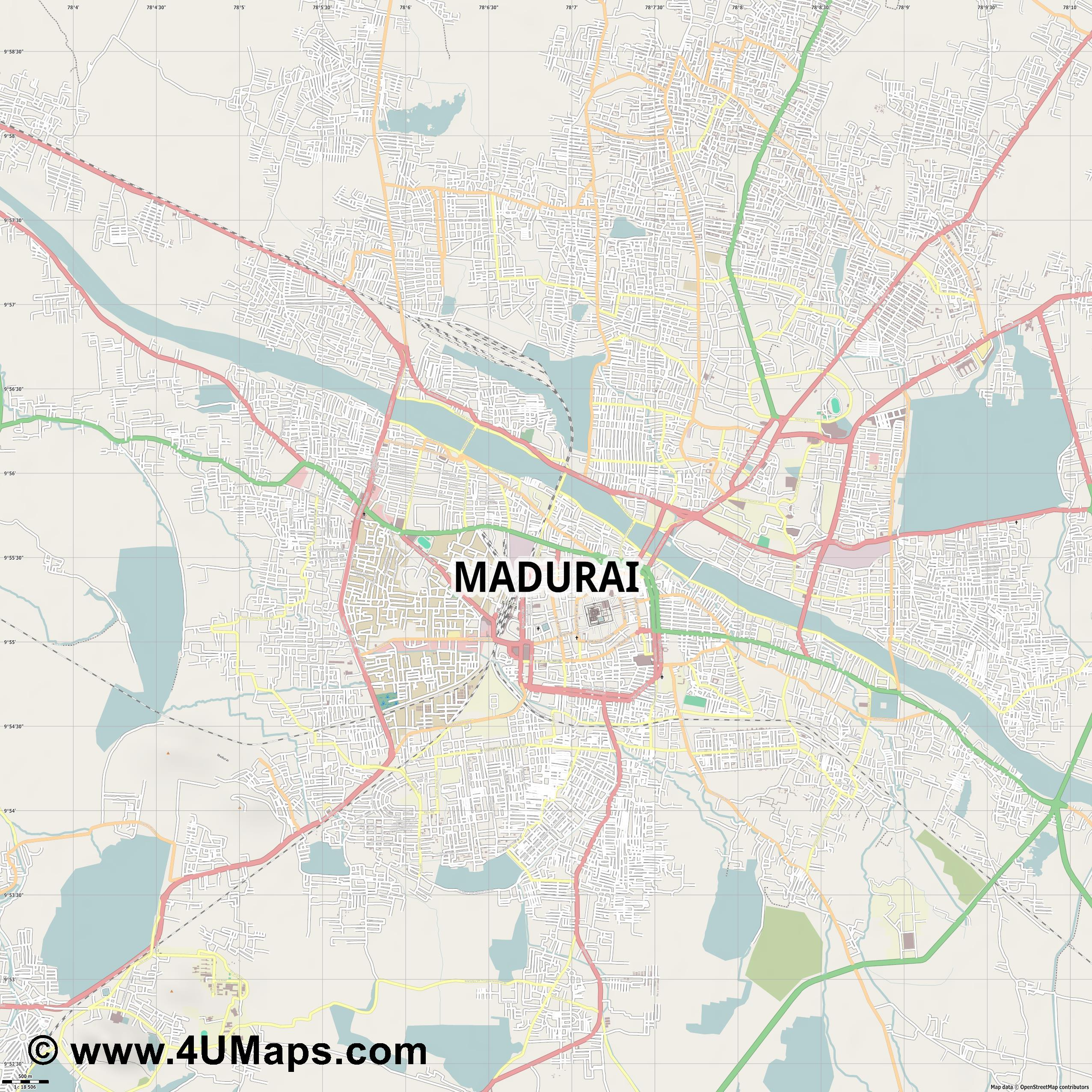 Madurai  jpg ultra high detail preview vector city map