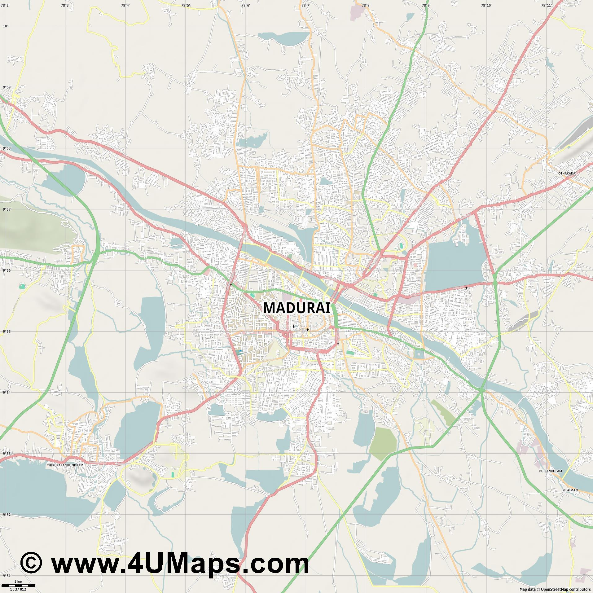 Madurai  jpg high detail, large area preview vector city map