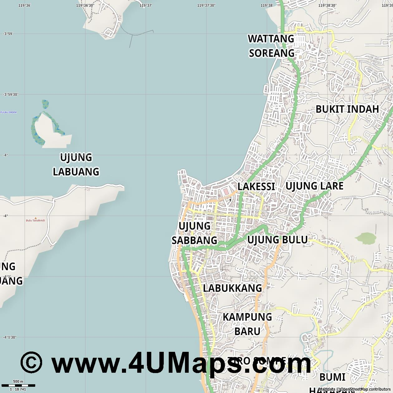 Pare Pare  jpg ultra high detail preview vector city map