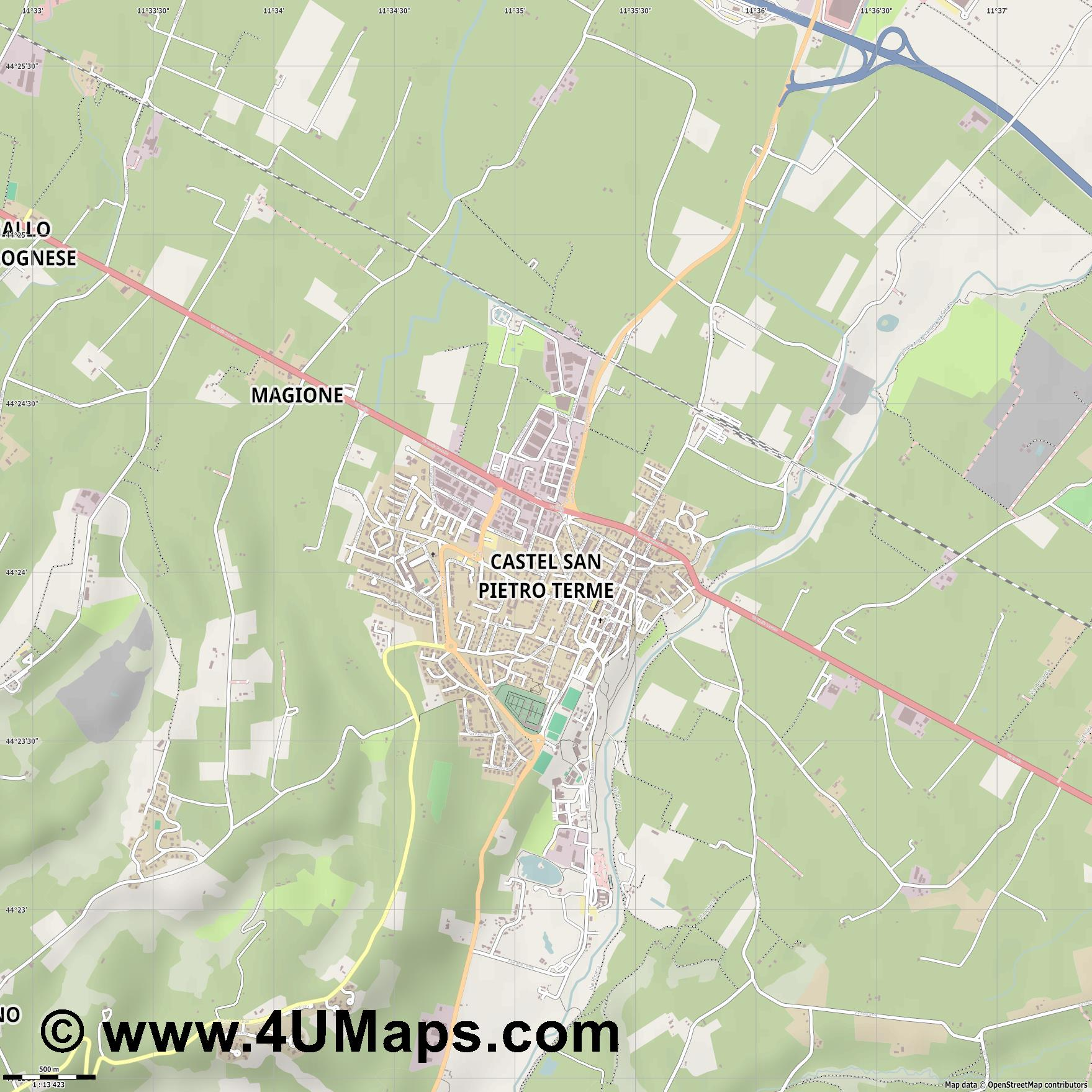 Castel San Pietro Terme  jpg ultra high detail preview vector city map
