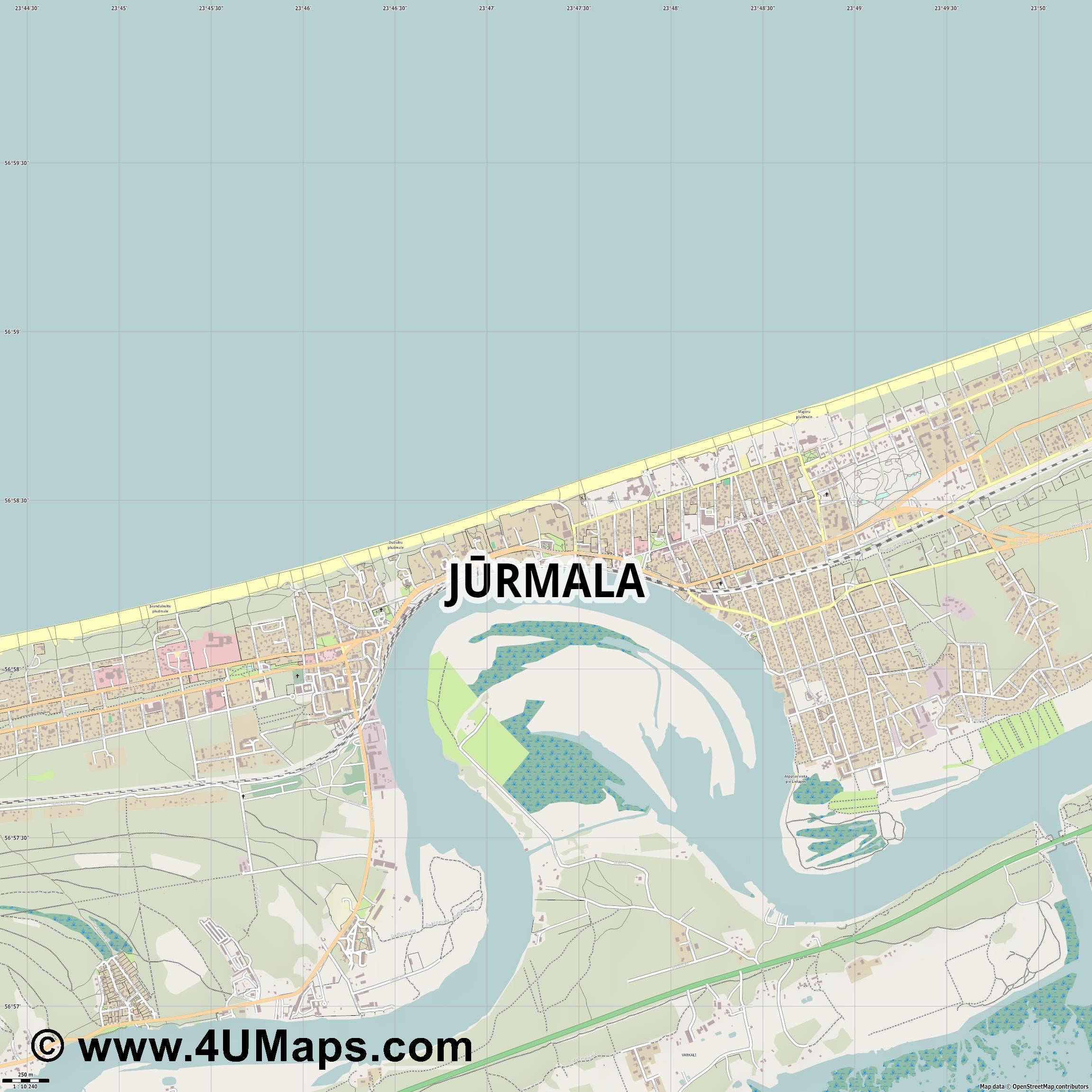 Jūrmala Rigastrand  jpg ultra high detail preview vector city map