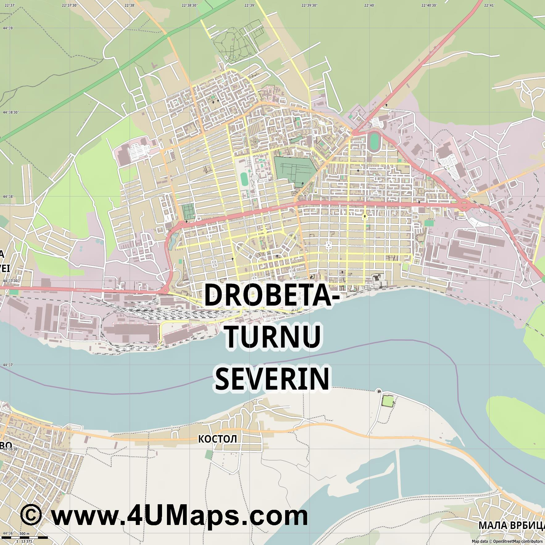 Drobeta Turnu Severin Turm Severin  jpg ultra high detail preview vector city map