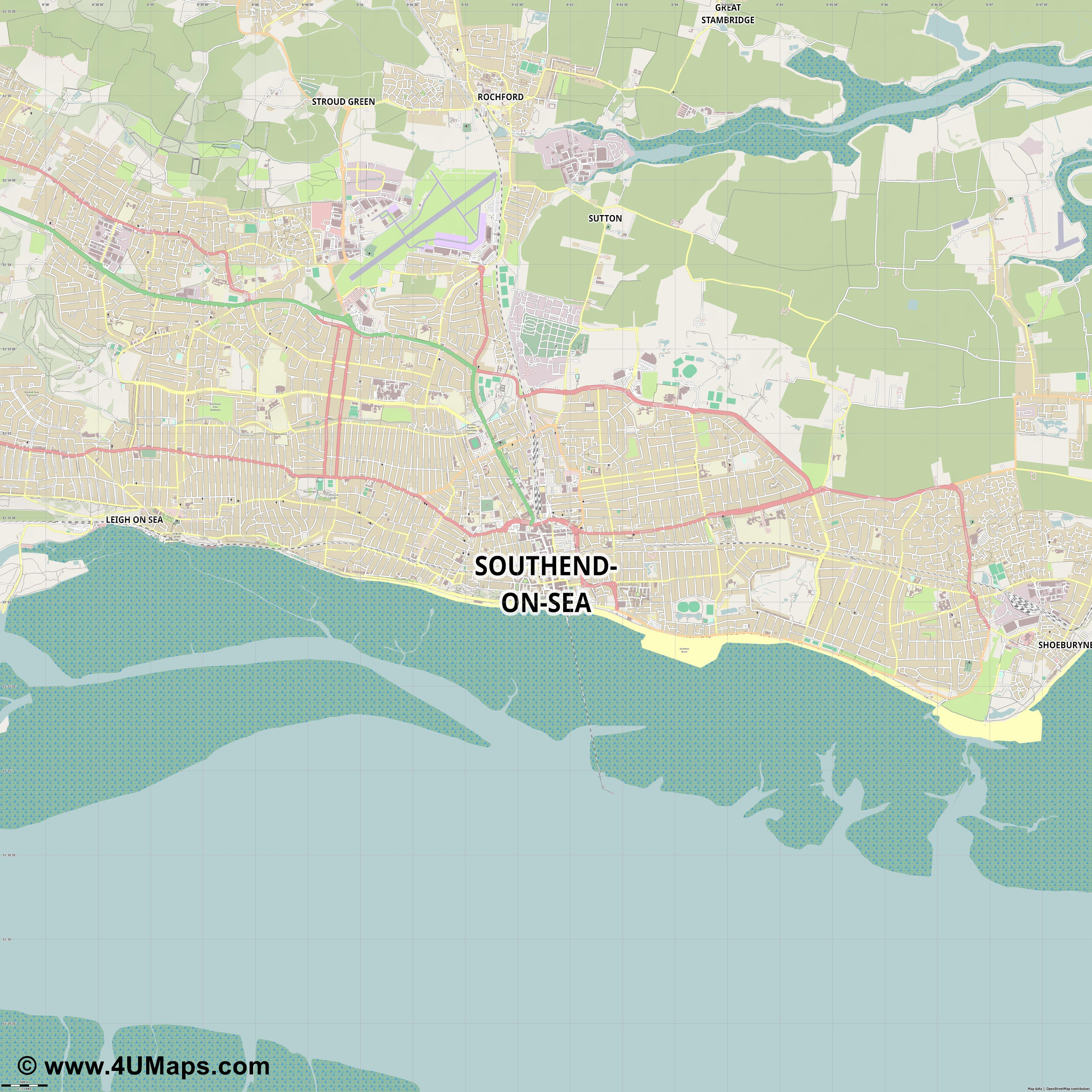 Southend on Sea  jpg ultra high detail preview vector city map