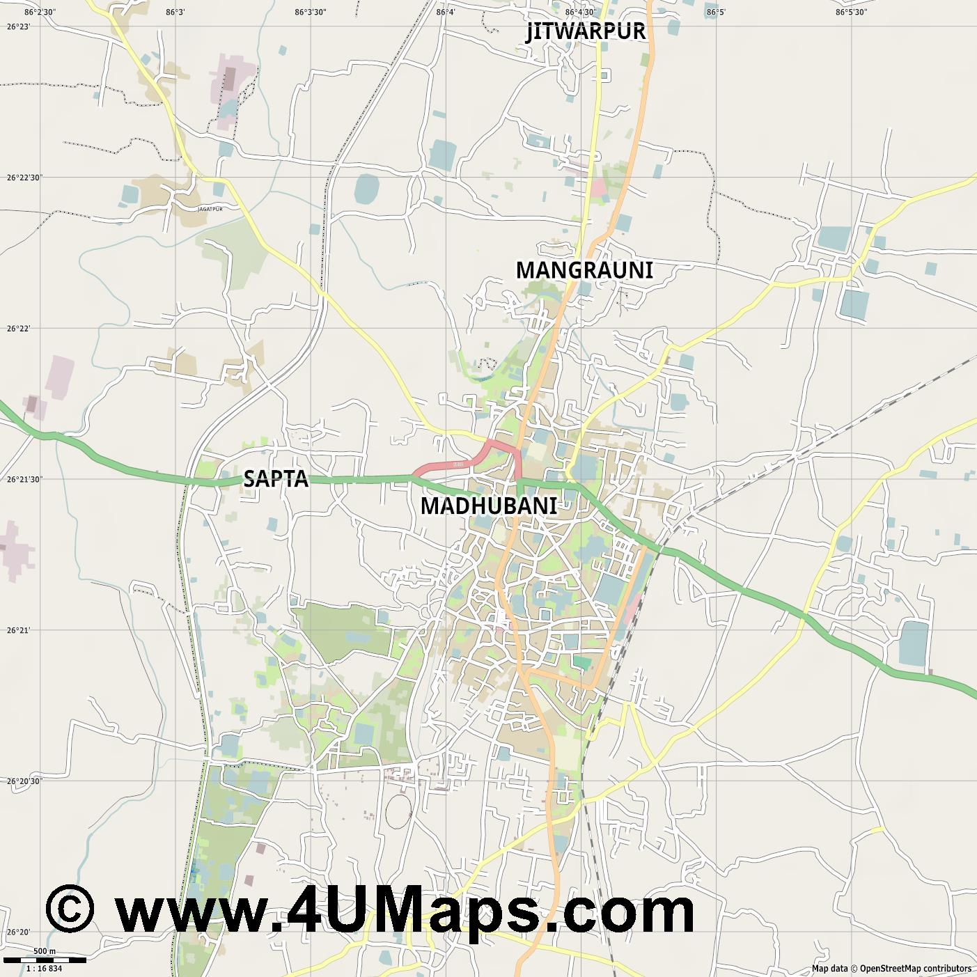 Madhubani  jpg ultra high detail preview vector city map