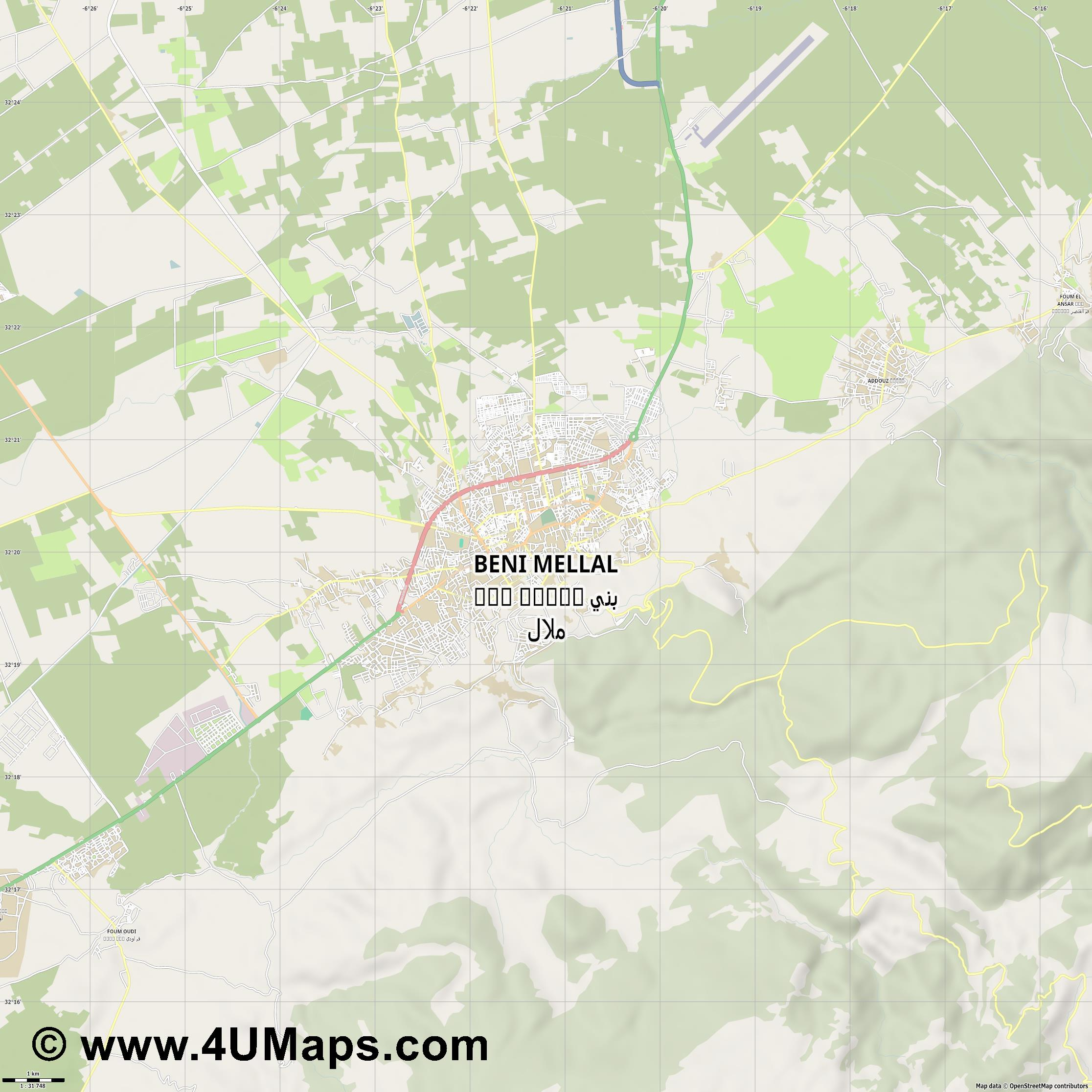 Beni Mellal بني ملال  jpg high detail, large area preview vector city map