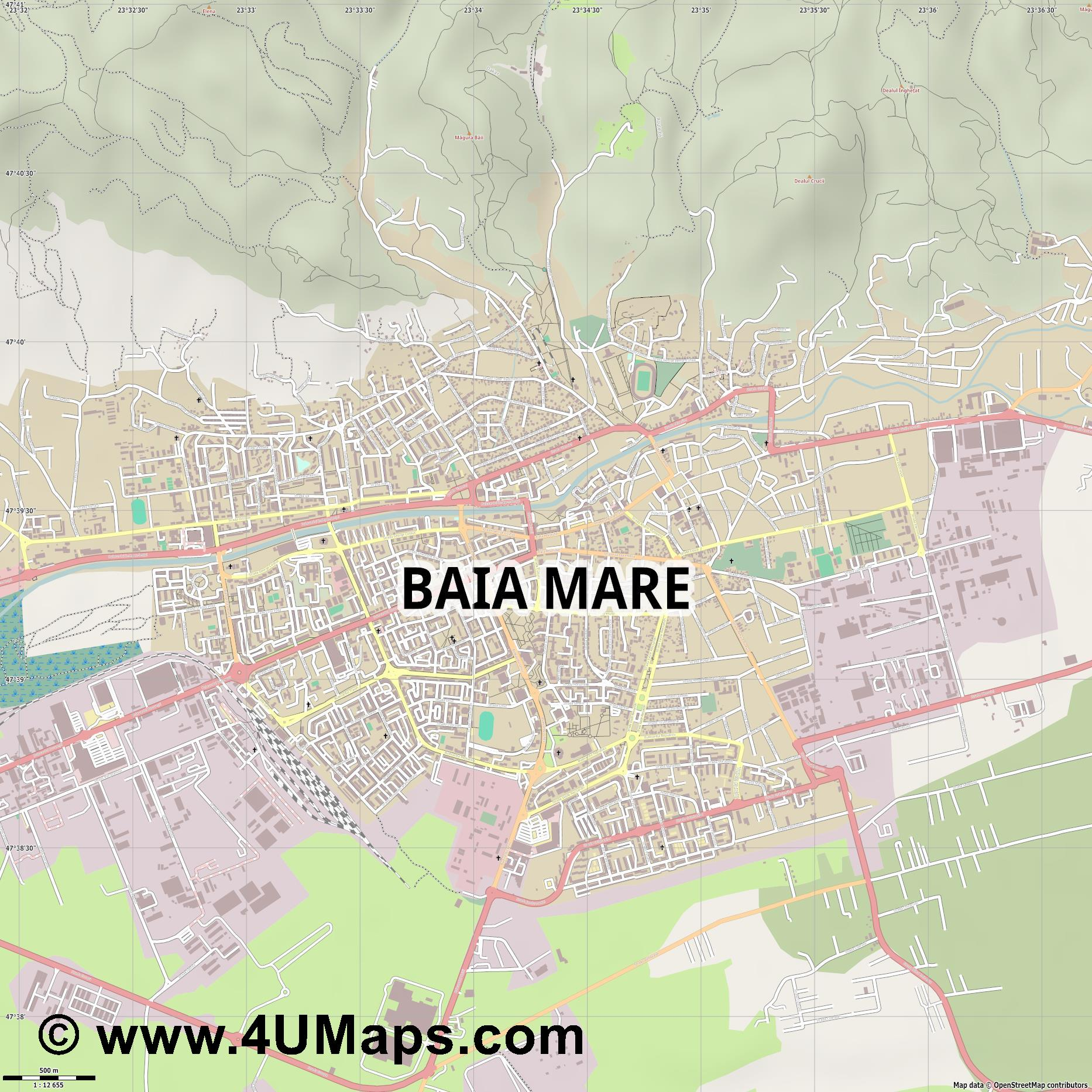 Baia Mare Frauenbach  jpg ultra high detail preview vector city map
