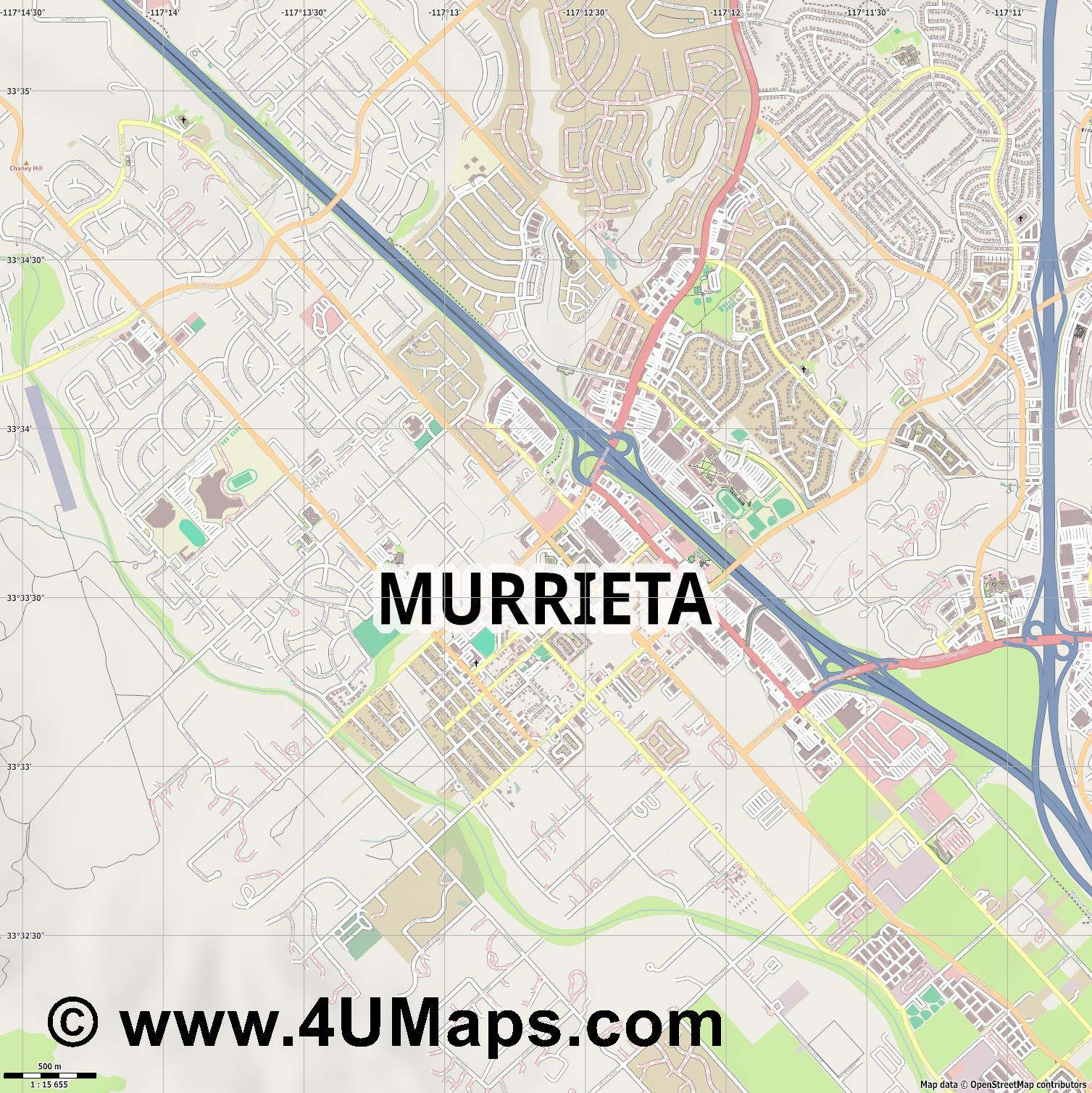 Murrieta  jpg ultra high detail preview vector city map